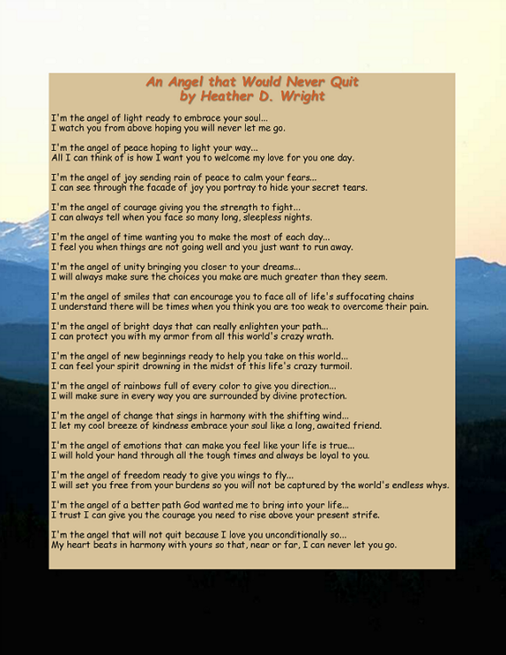 An Angel That Would Never Quit - Printable Digital Download