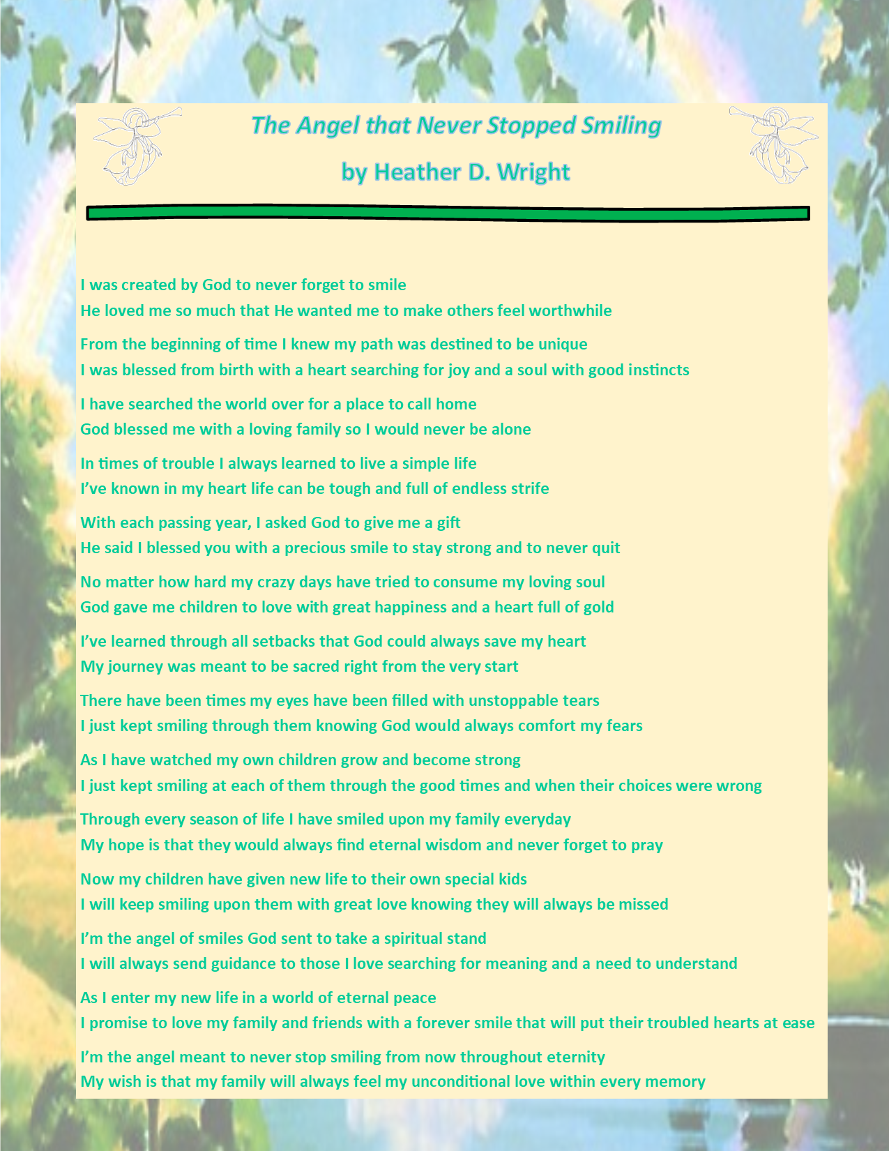 The Angel That Never Stopped Smiling - Printable Digital Download