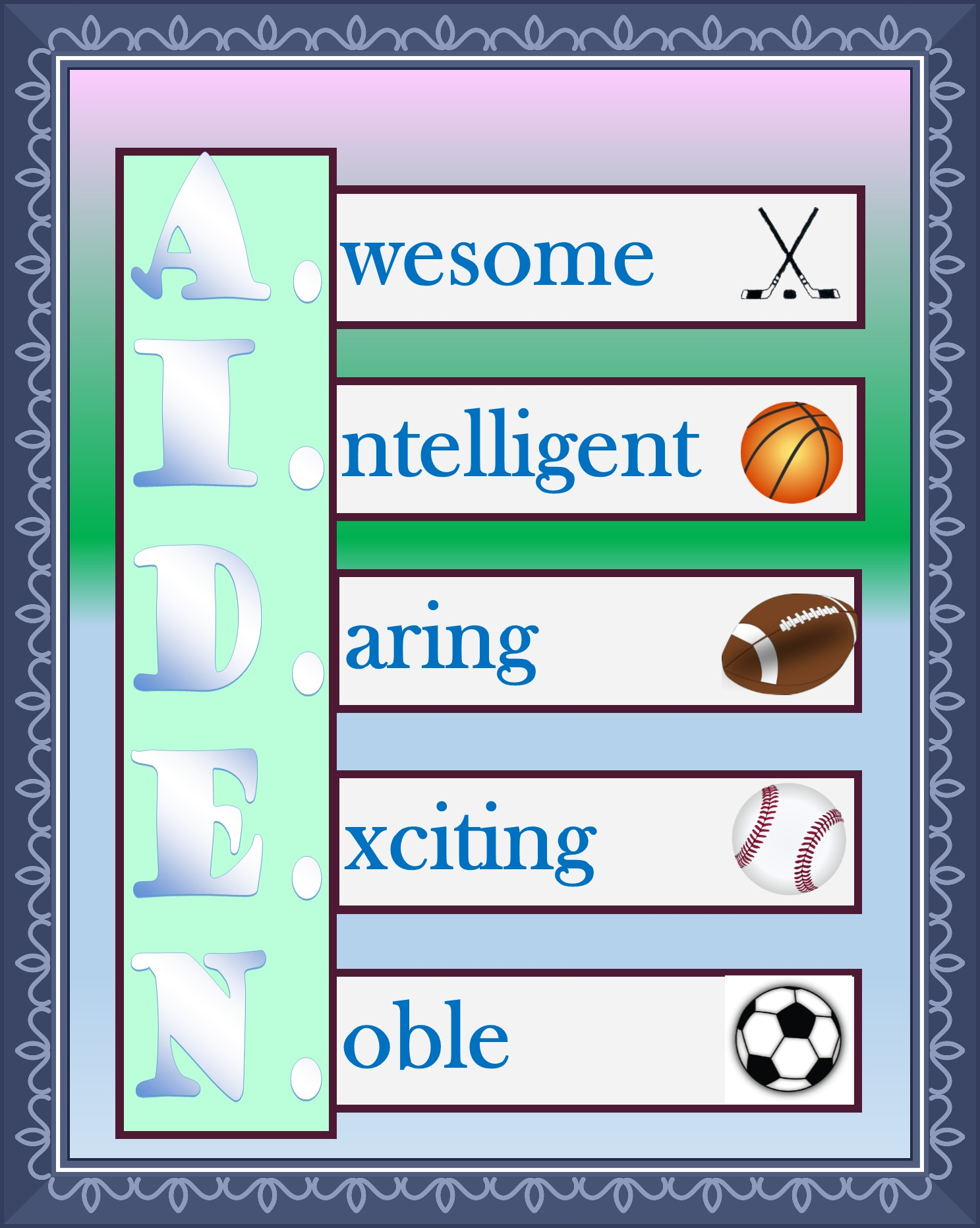 Special Nameplate - Aiden - Printable Downloadable Design