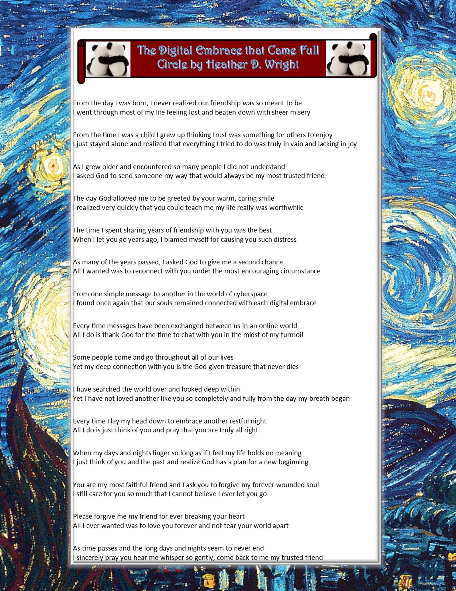 The Digital Embrace that Came Full Circle - Printable Poetic Art Download