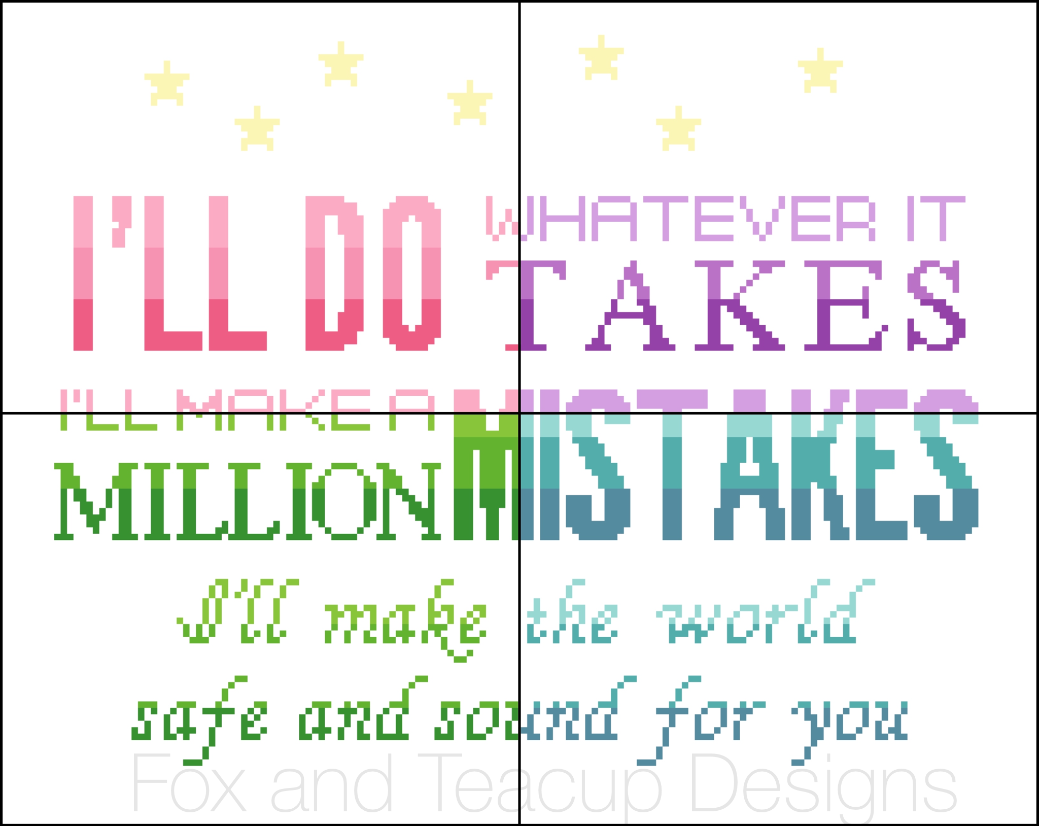 Safe and Sound (ALL COLORWAYS) Hamilton digital cross stitch pattern