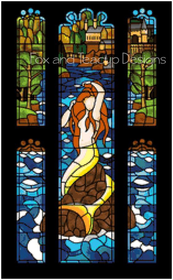 Stained Glass Mermaid - Standard (red hair) digital cross stitch pattern