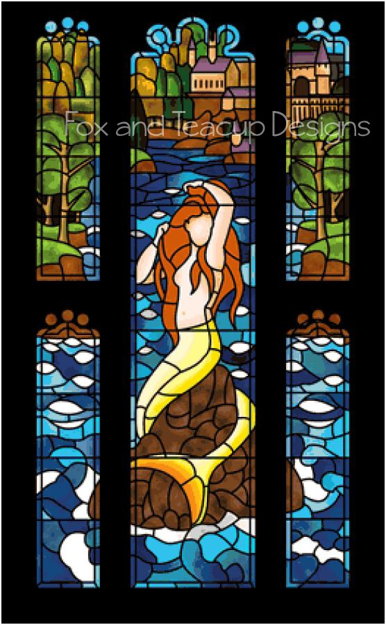 Stained Glass Mermaid - Super Size Max Color (red hair) digital cross stitch pattern