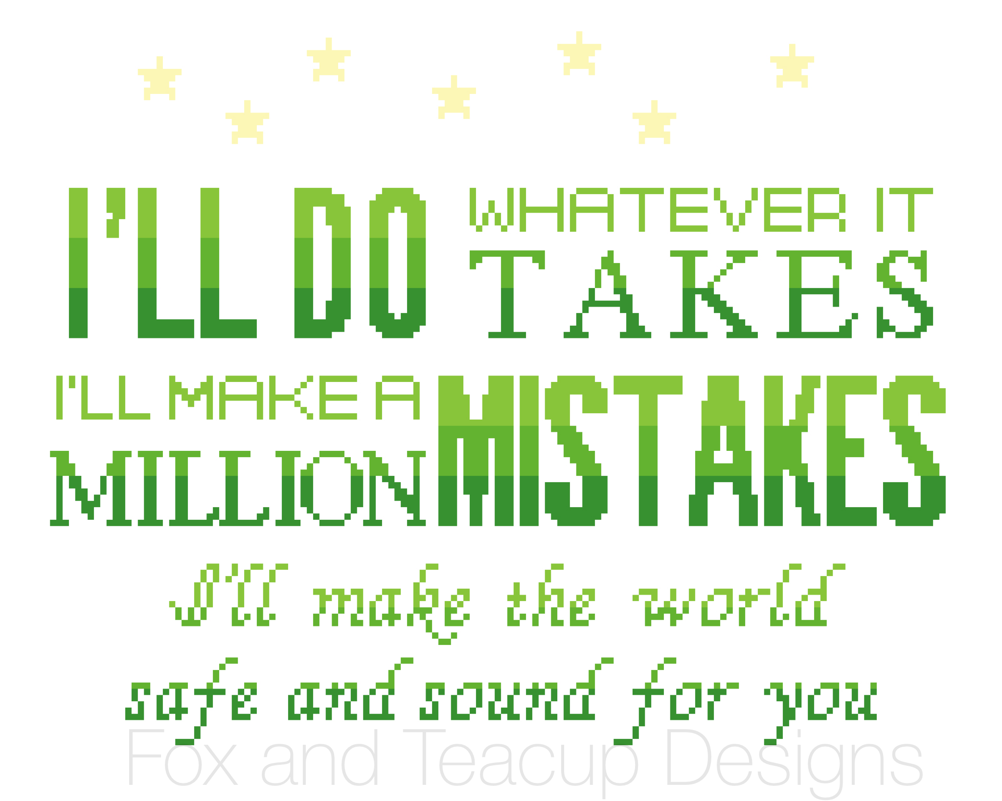 Safe and Sound (green) Hamilton digital cross stitch pattern