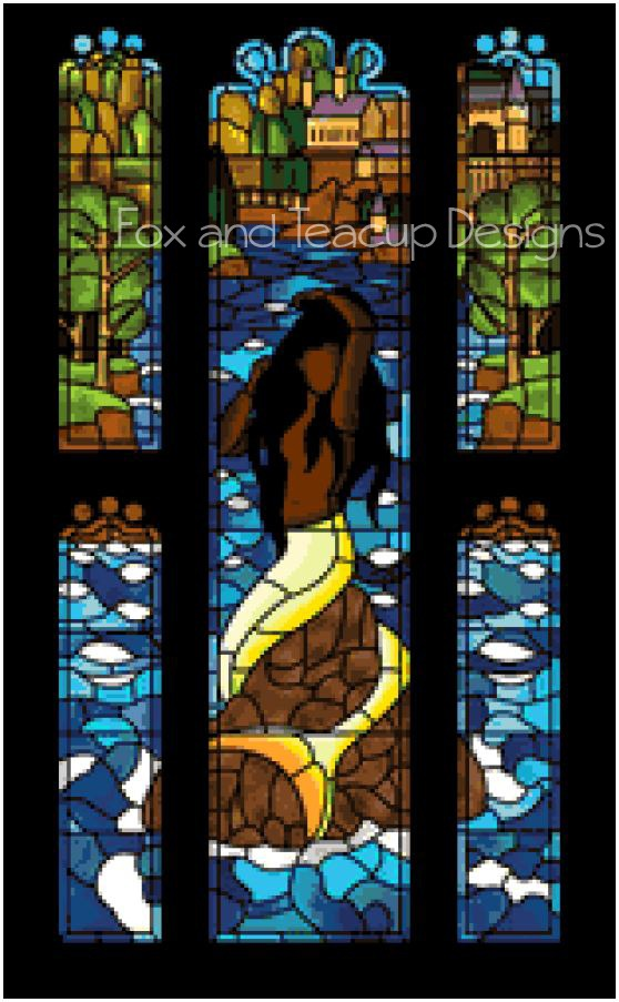 Stained Glass Mermaid - Standard (dark hair) digital cross stitch pattern