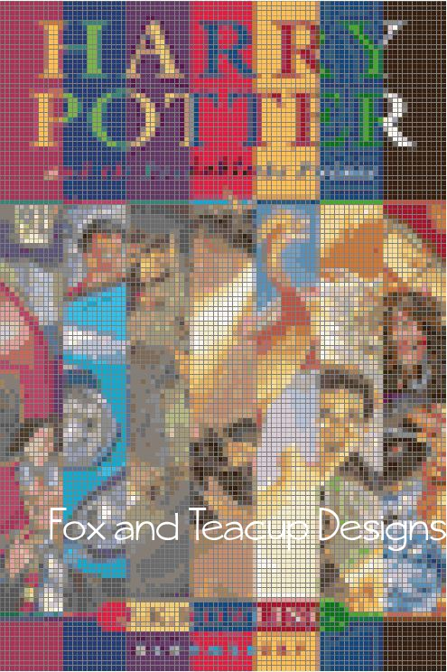 HP Book Cover Collage (UK) - MINI digital cross stitch pattern