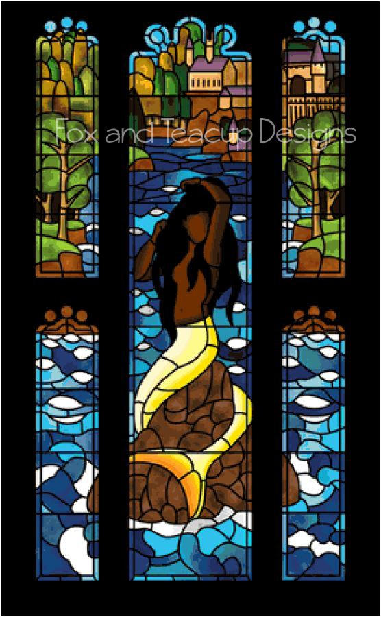 Stained Glass Mermaid - Super Size Max Color (dark hair) digital cross stitch pattern