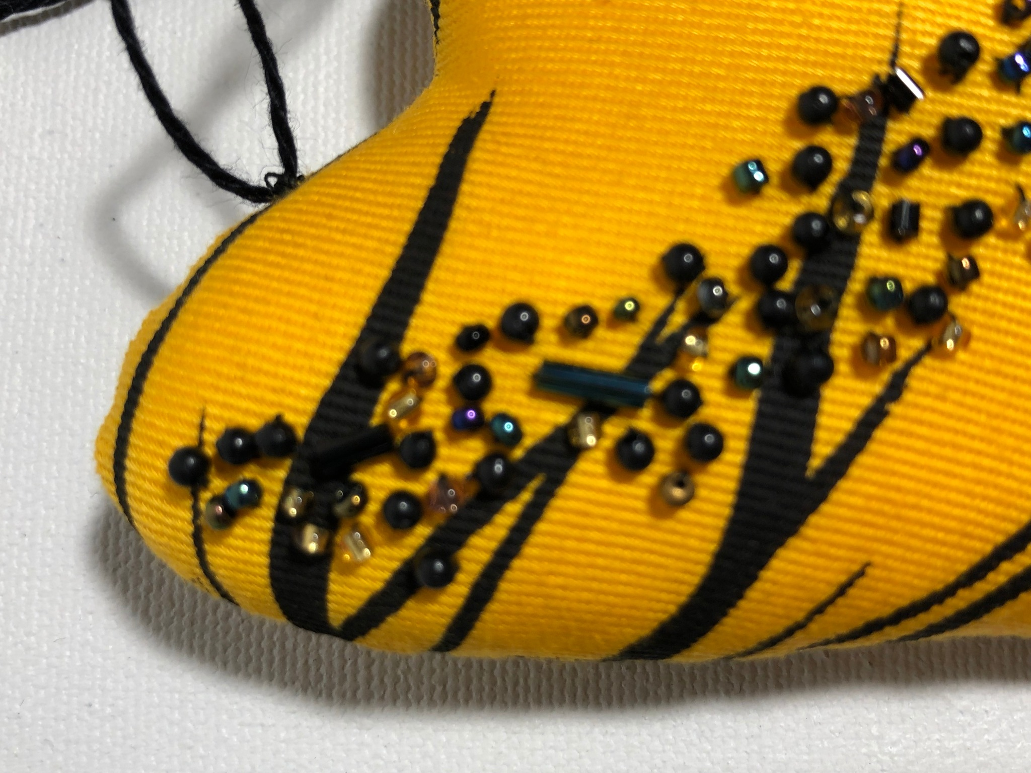 yellow and black cotton heart