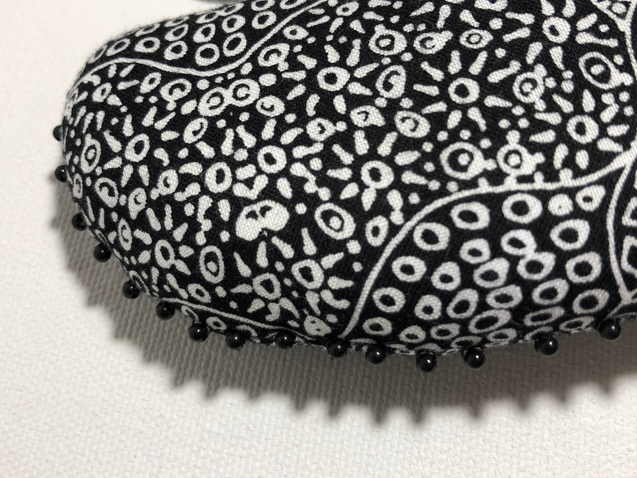 black and white cotton heart