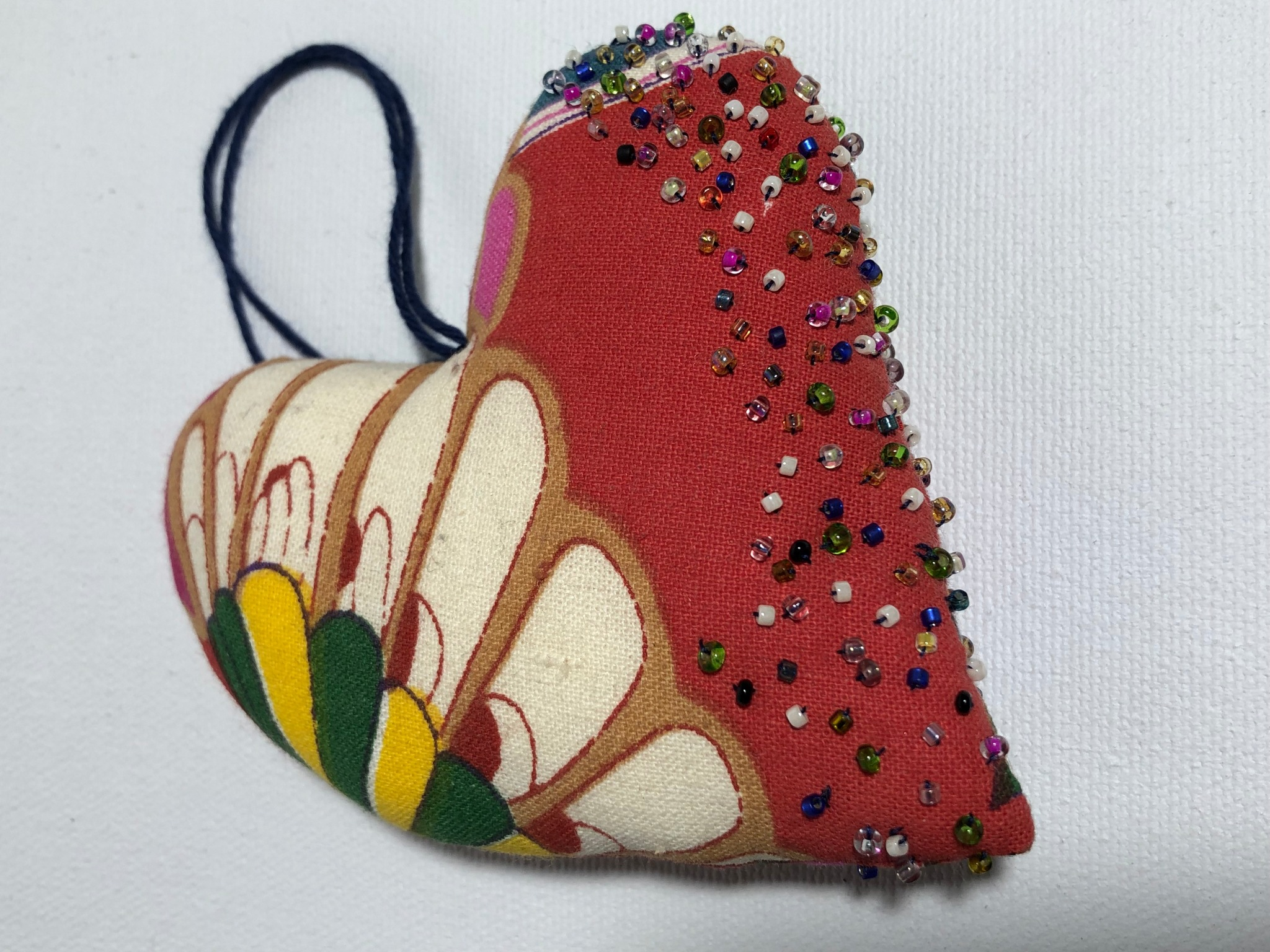red floral cotton heart