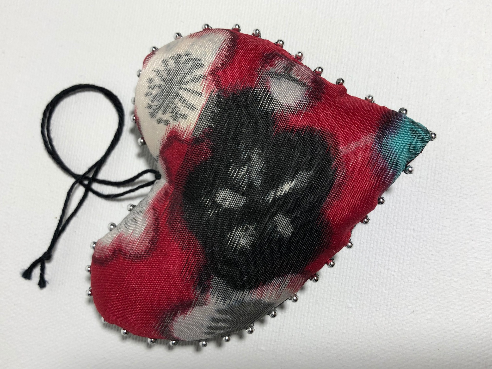 red and black vintage Japanese silk heart