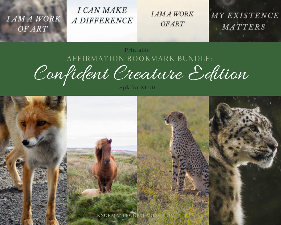 Printable Affirmation Bookmark Bundle: Confident Creature Edition, 8pk for $1.00