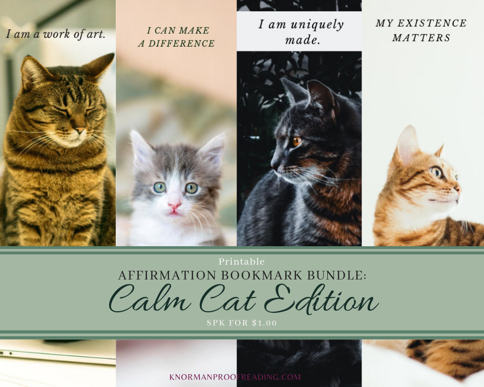 Printable Affirmation Bookmark Bundle: Calm Cat Edition, 8pk for $1.00
