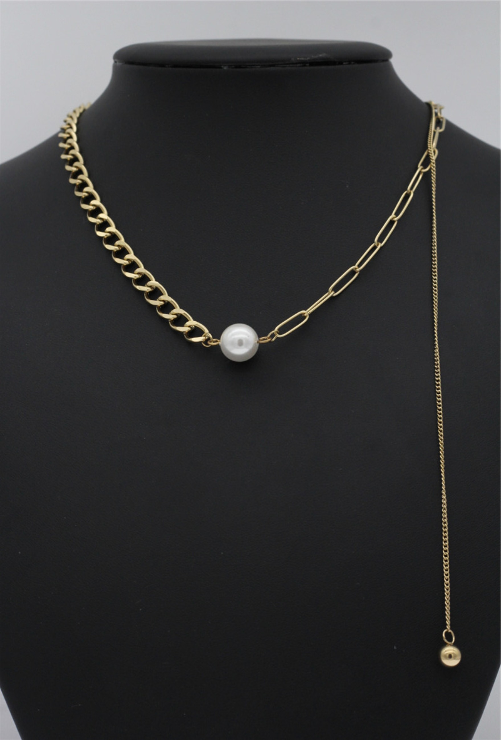 "Chunky Mix Chain Kette ""Pearl"""