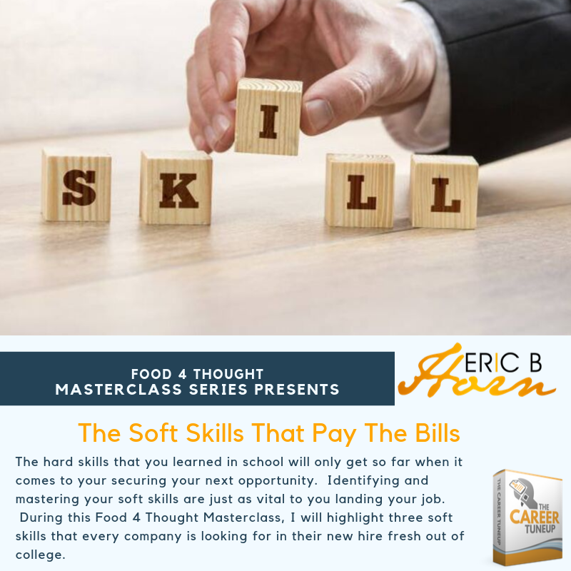 Food 4 Thought Masterclass - Soft Skills That Pay The Bills (Online) $35 v. $70