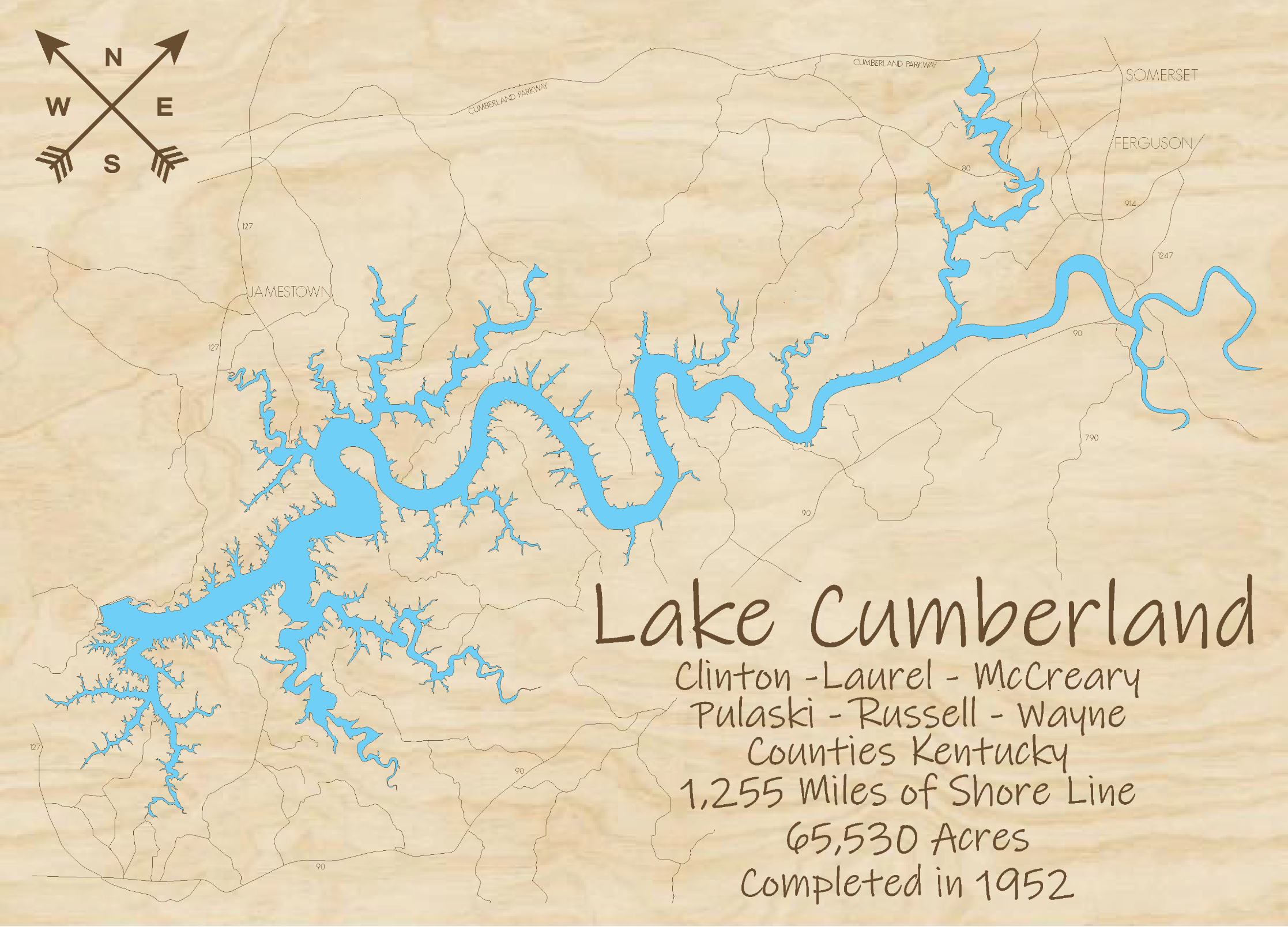 Lake Cumberland Multi-layered Wood Lake Map