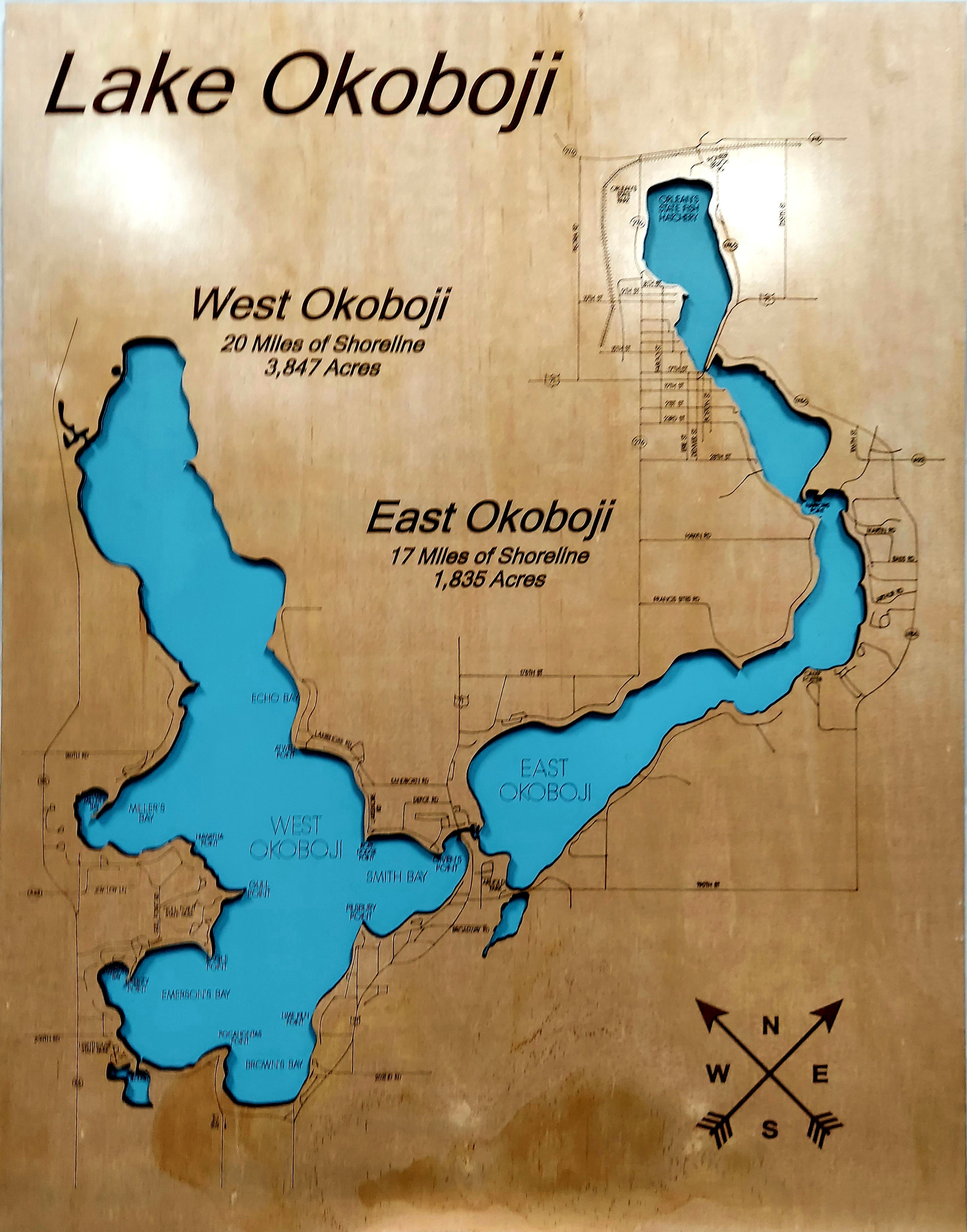 Lake Okoboji Wood Map