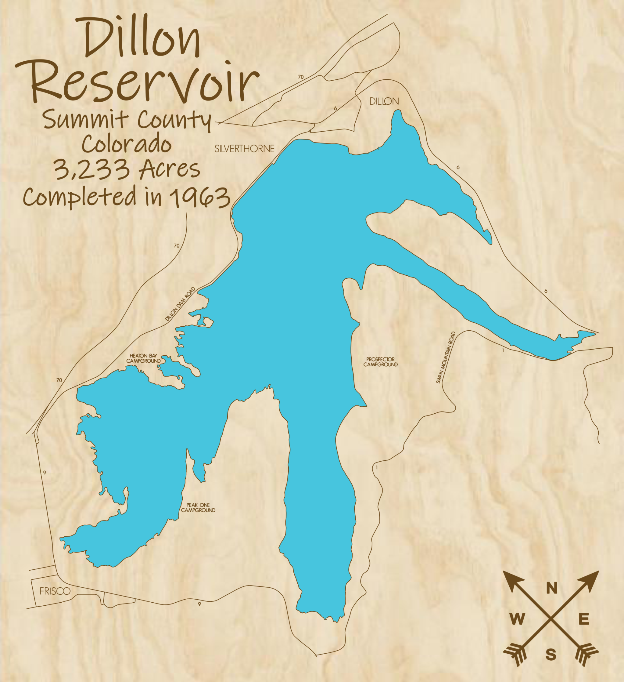 Dillon Reservoir Multi-layered Wood Lake Map