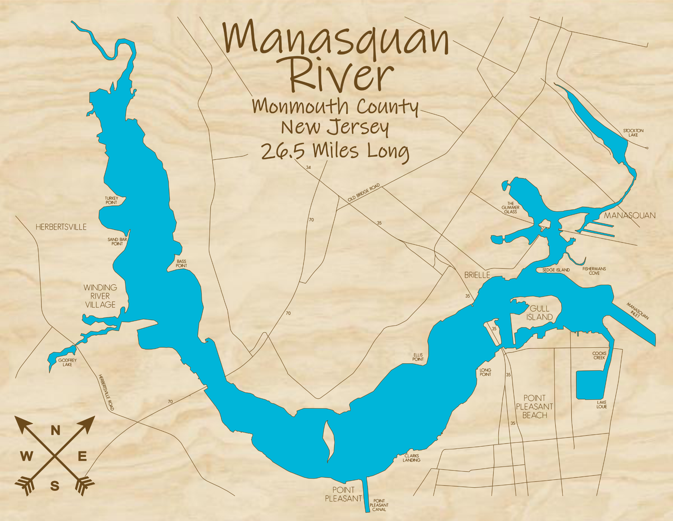 Manasquan River Multi-layered Wood Lake Map