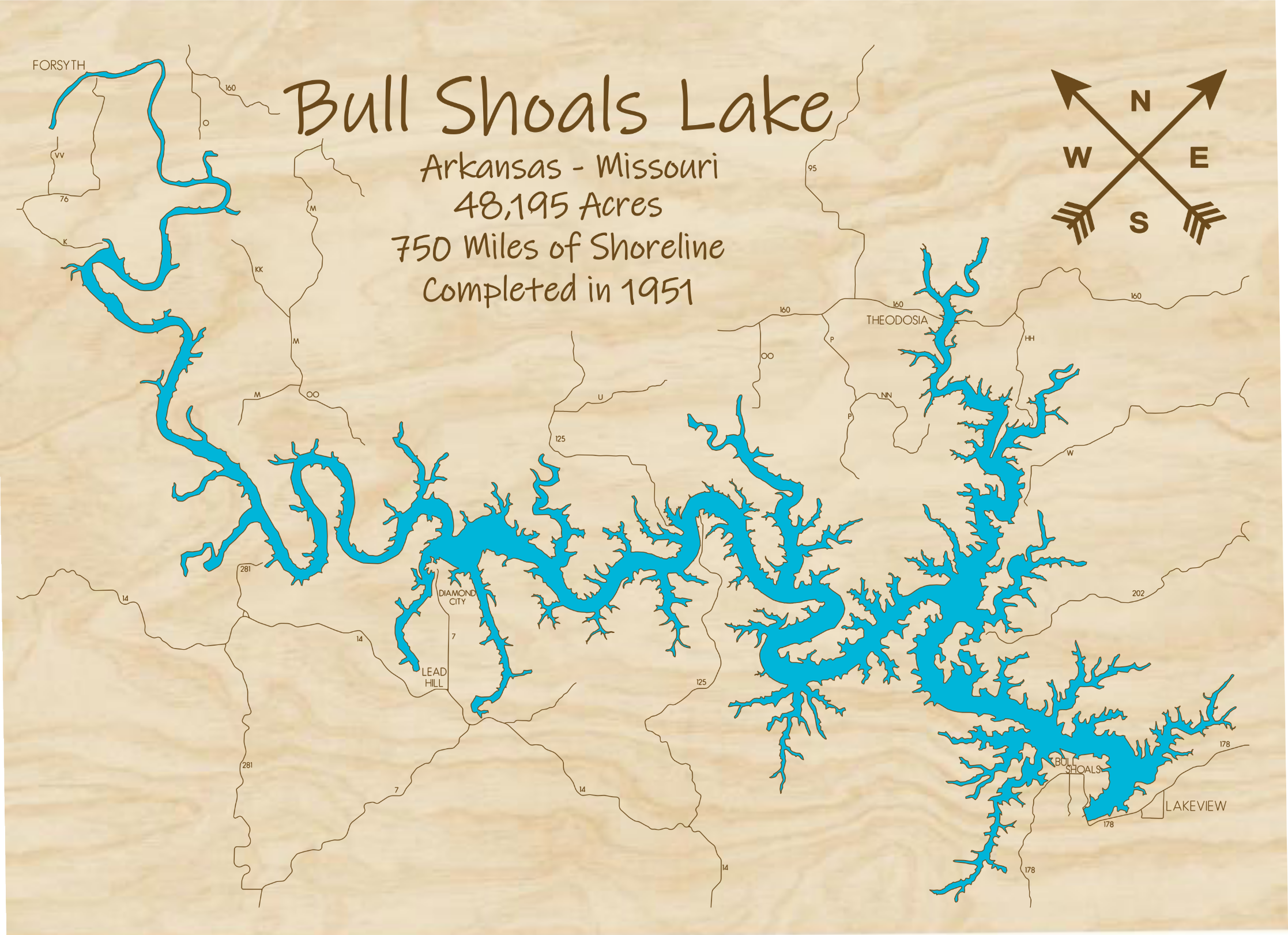 Bull Shoals Lake Multi-layered Wood Lake Map