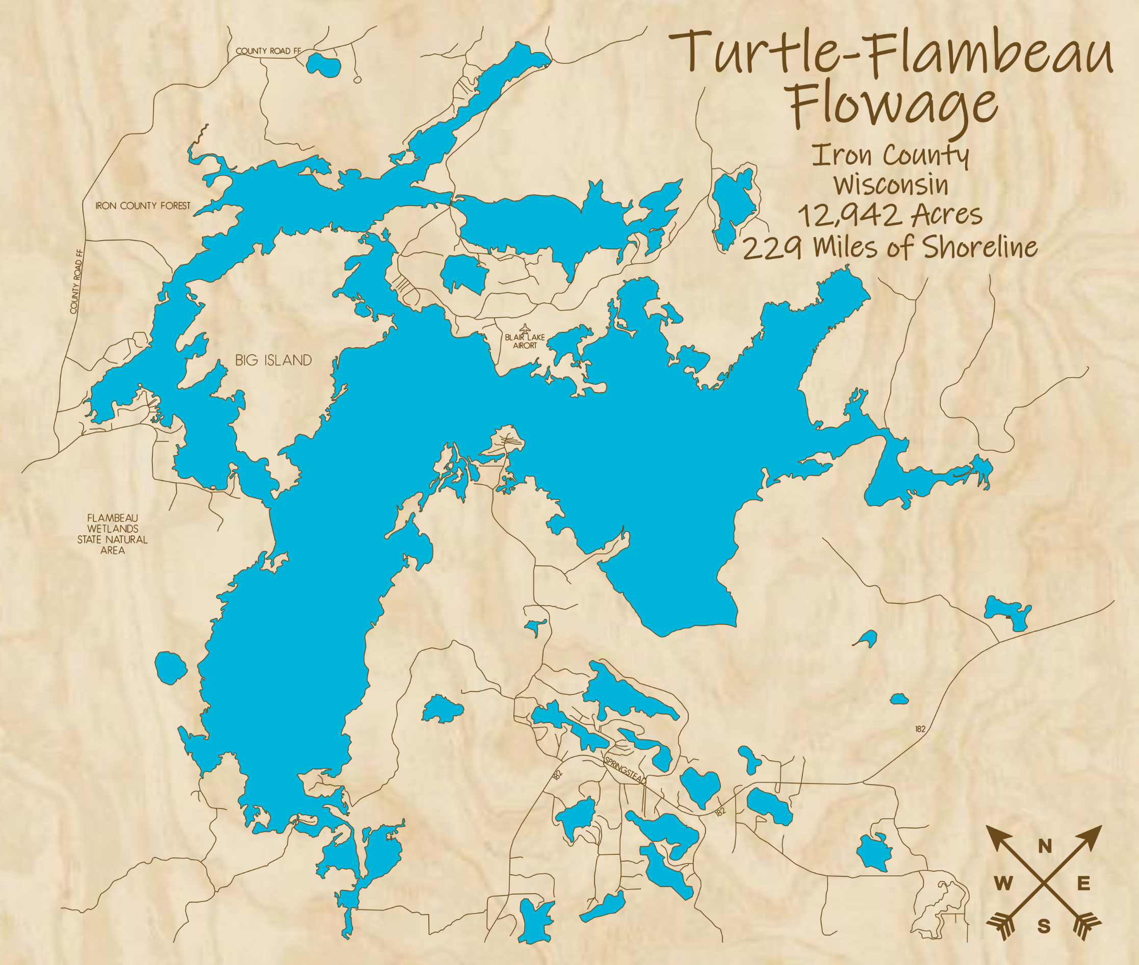 Turtle Flambeau Folowage Multi-layered Wood Lake Map