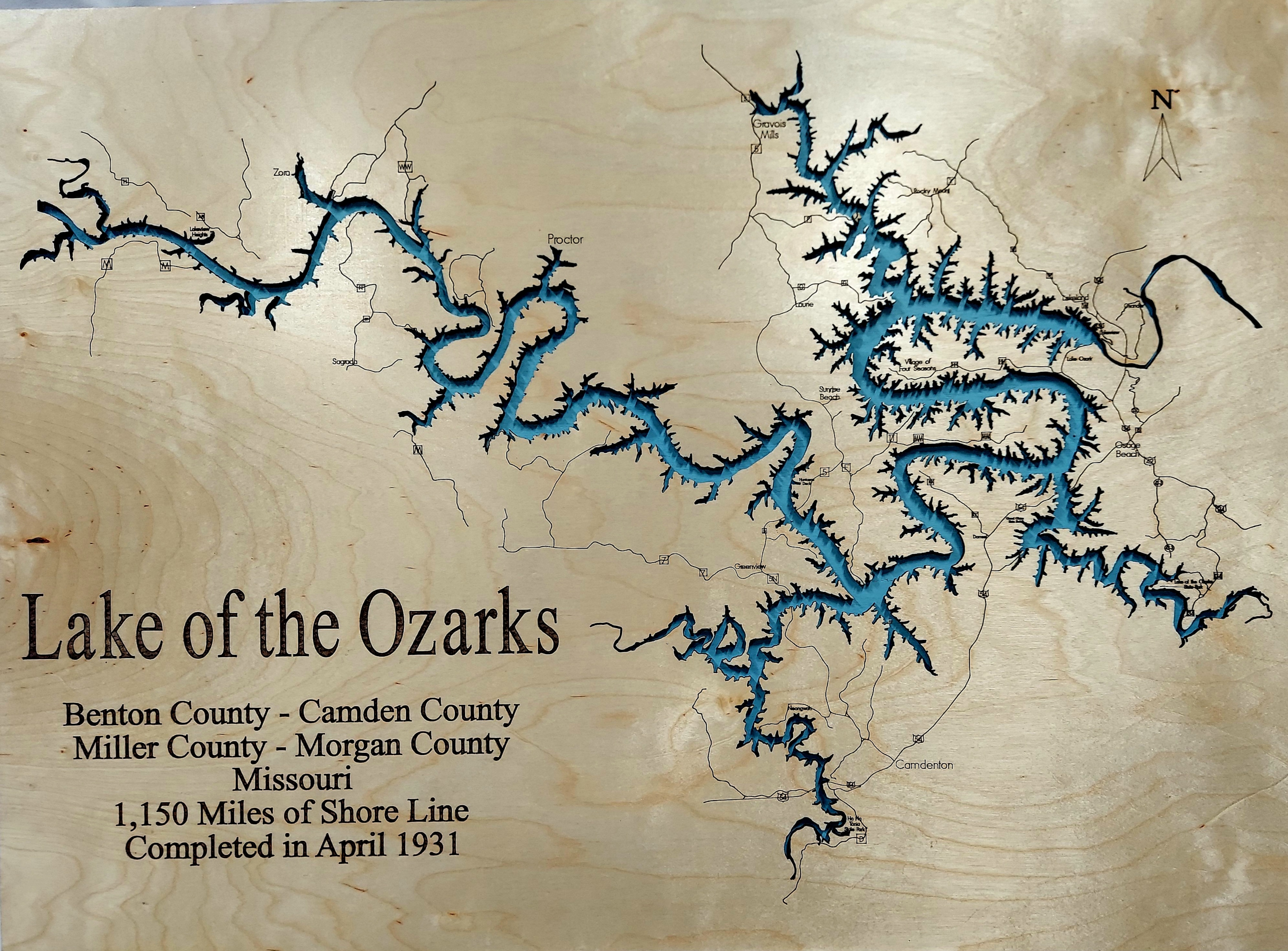 Lake of the Ozarks Wood Wall Map