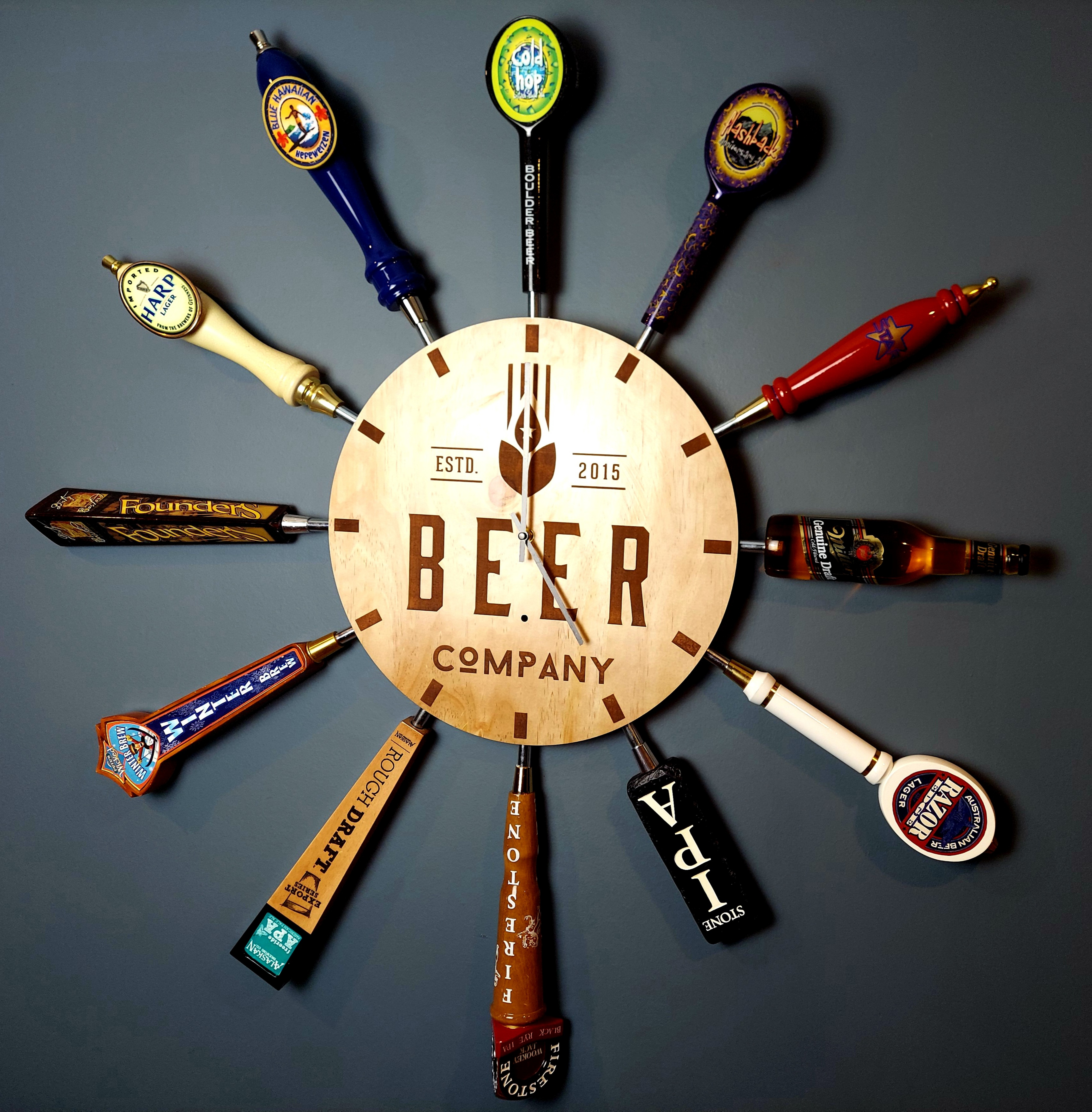 Beer Tap Handle Clock with Custom Clock Face
