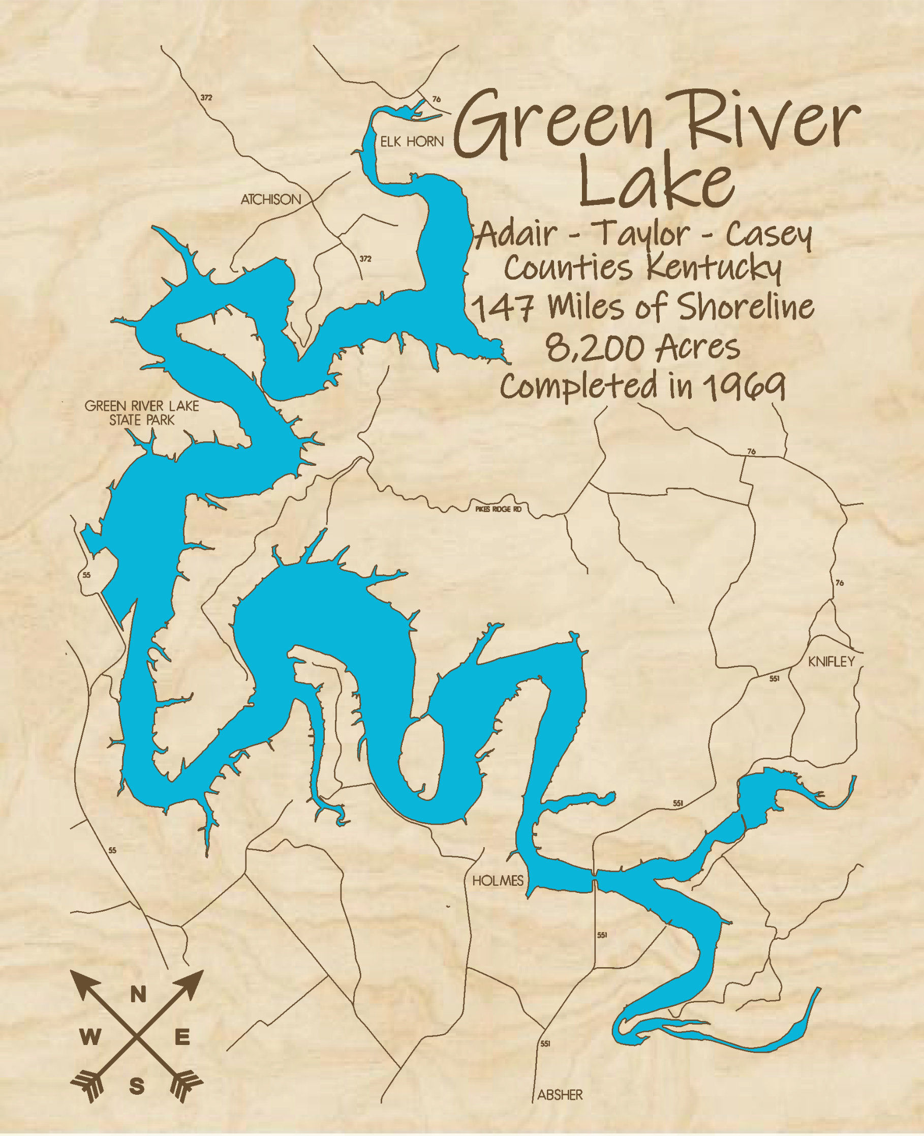 Green River Lake Multi-layered Wood Lake Map