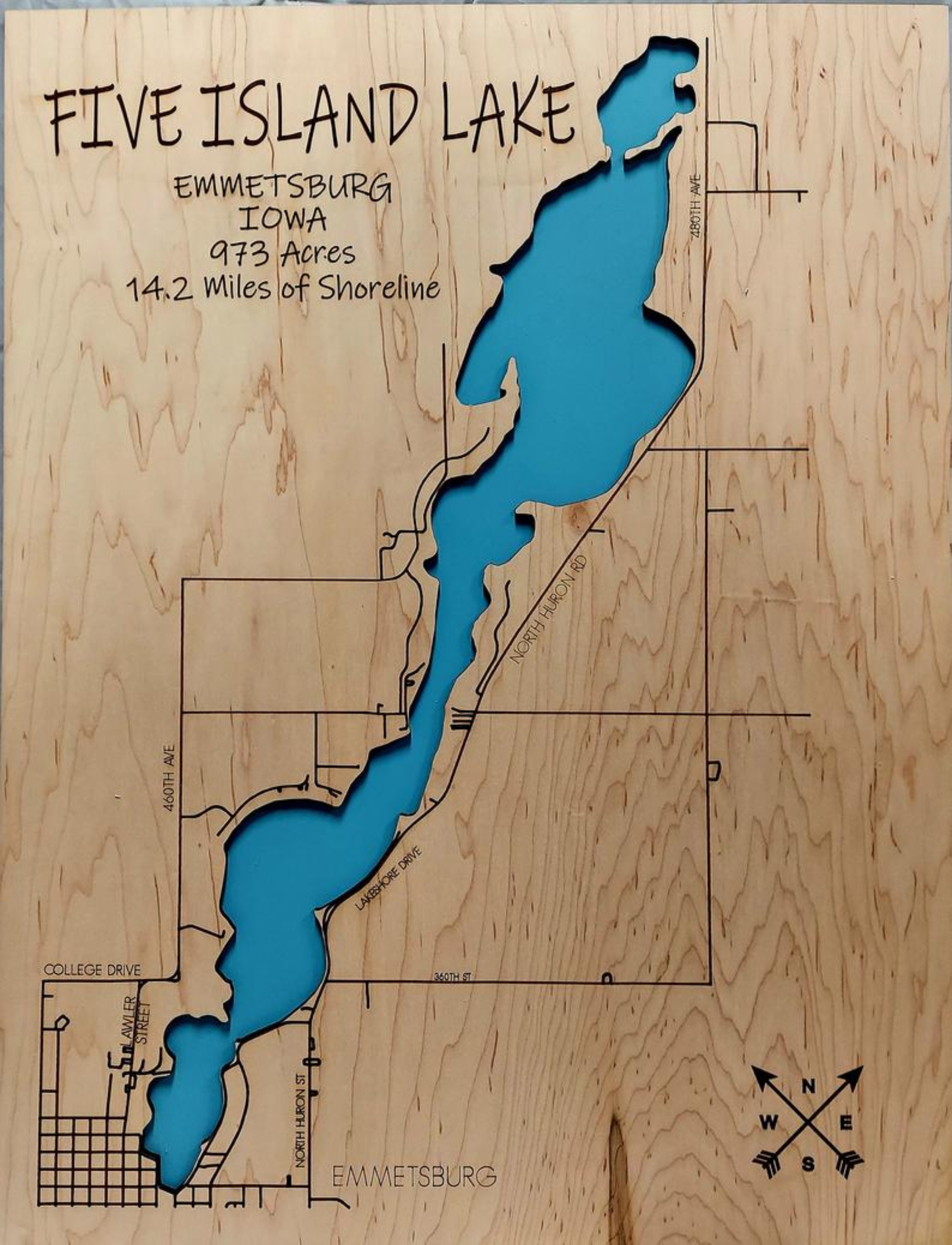 Five Island Lake Multi-layered Wood Map