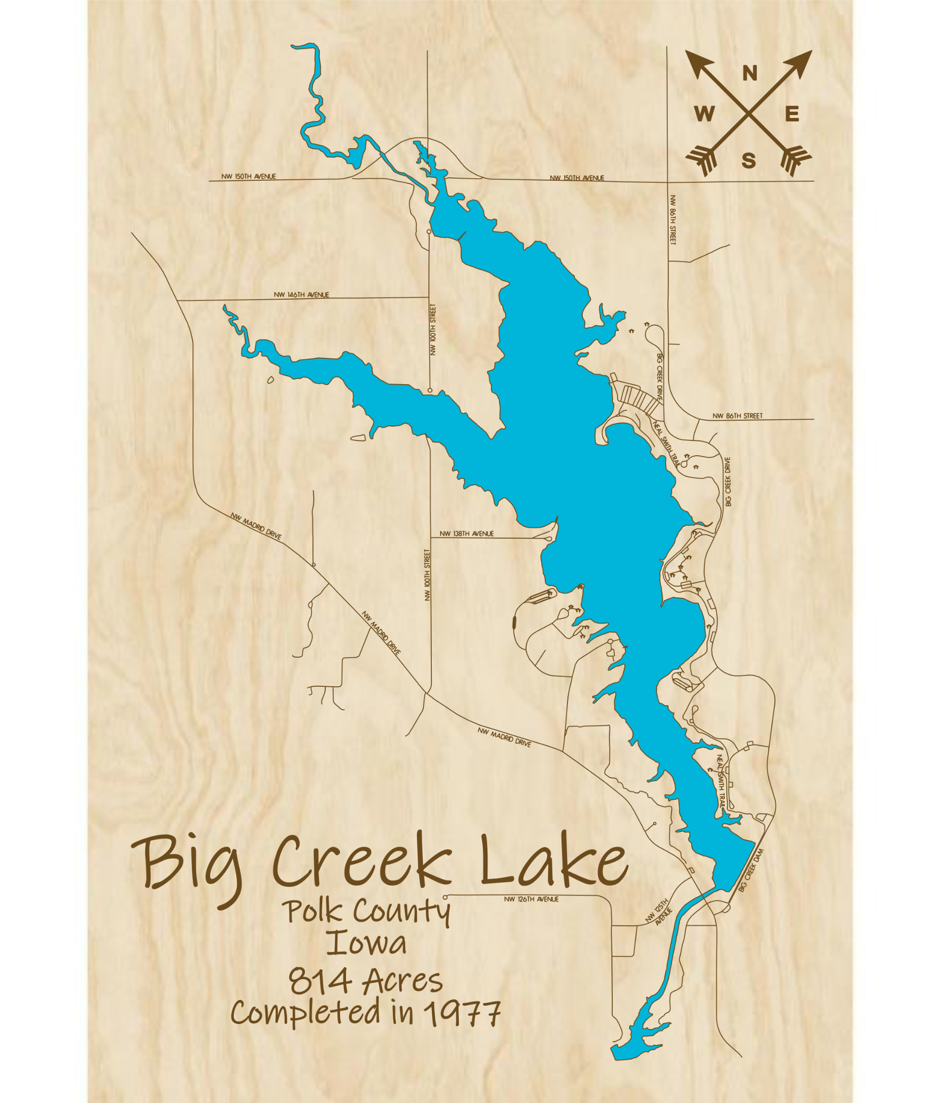 Big Creek Lake Multi-layered Wood Lake Map