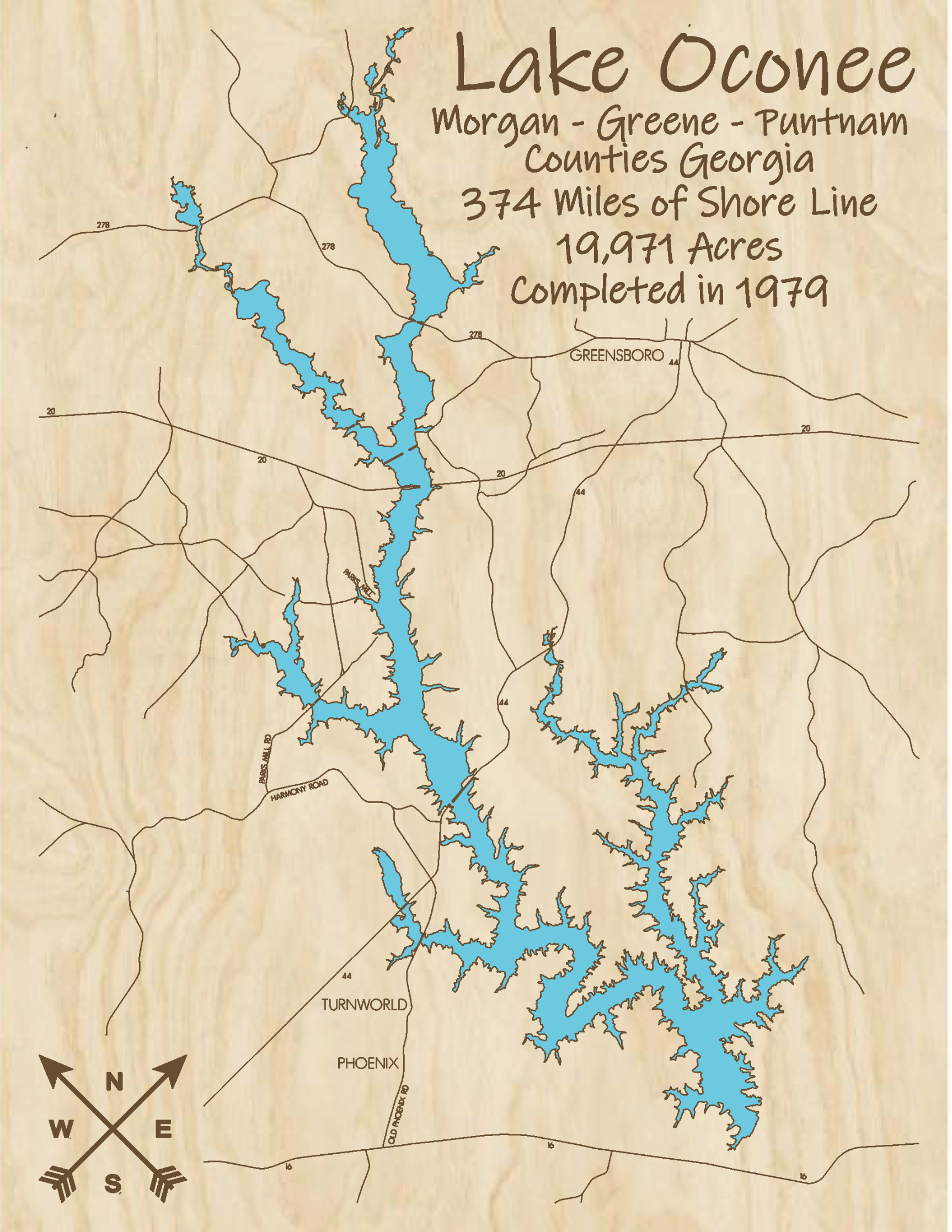 Lake Oconee Multi-layered Wood Lake Map