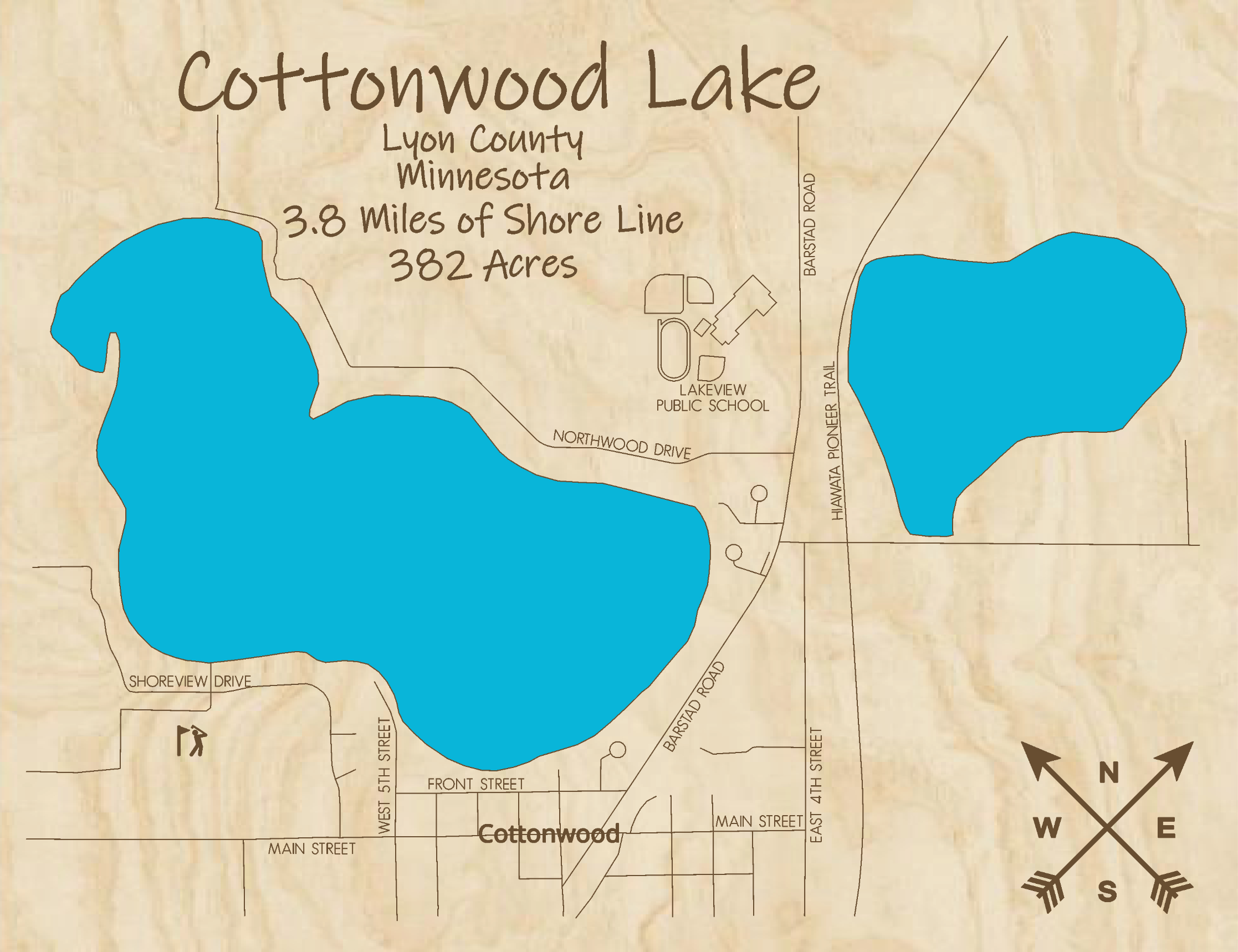 Cottonwood Lake Multi-layered Wood Lake Map