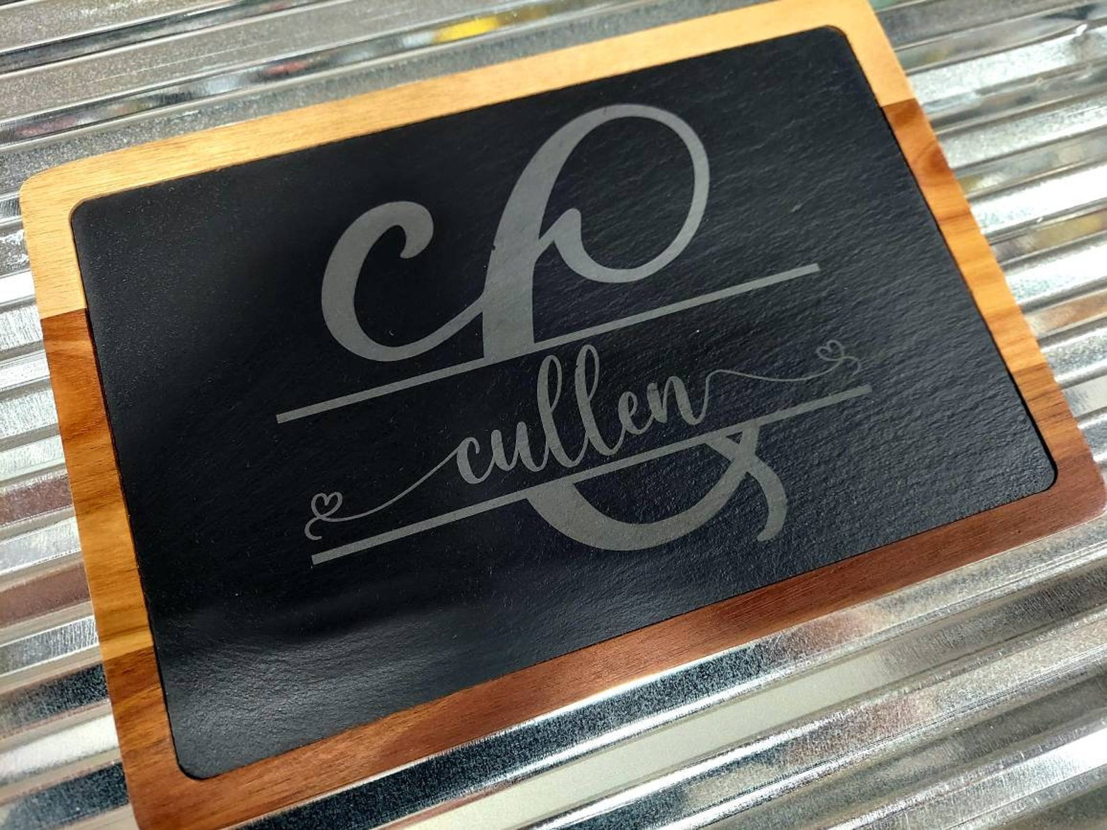 Personalized Slate and Wood Cheese/Charcuterie Board