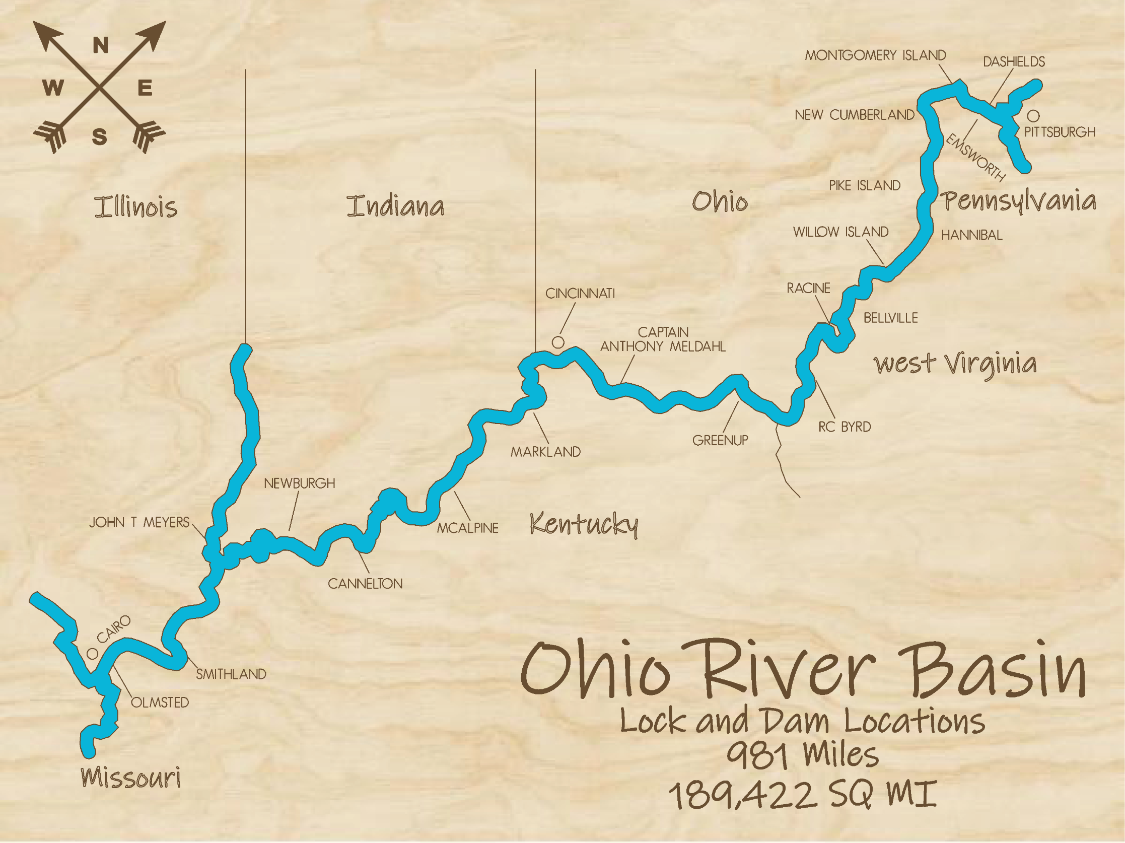 Ohio River Locks and Dams Milti-layered Map