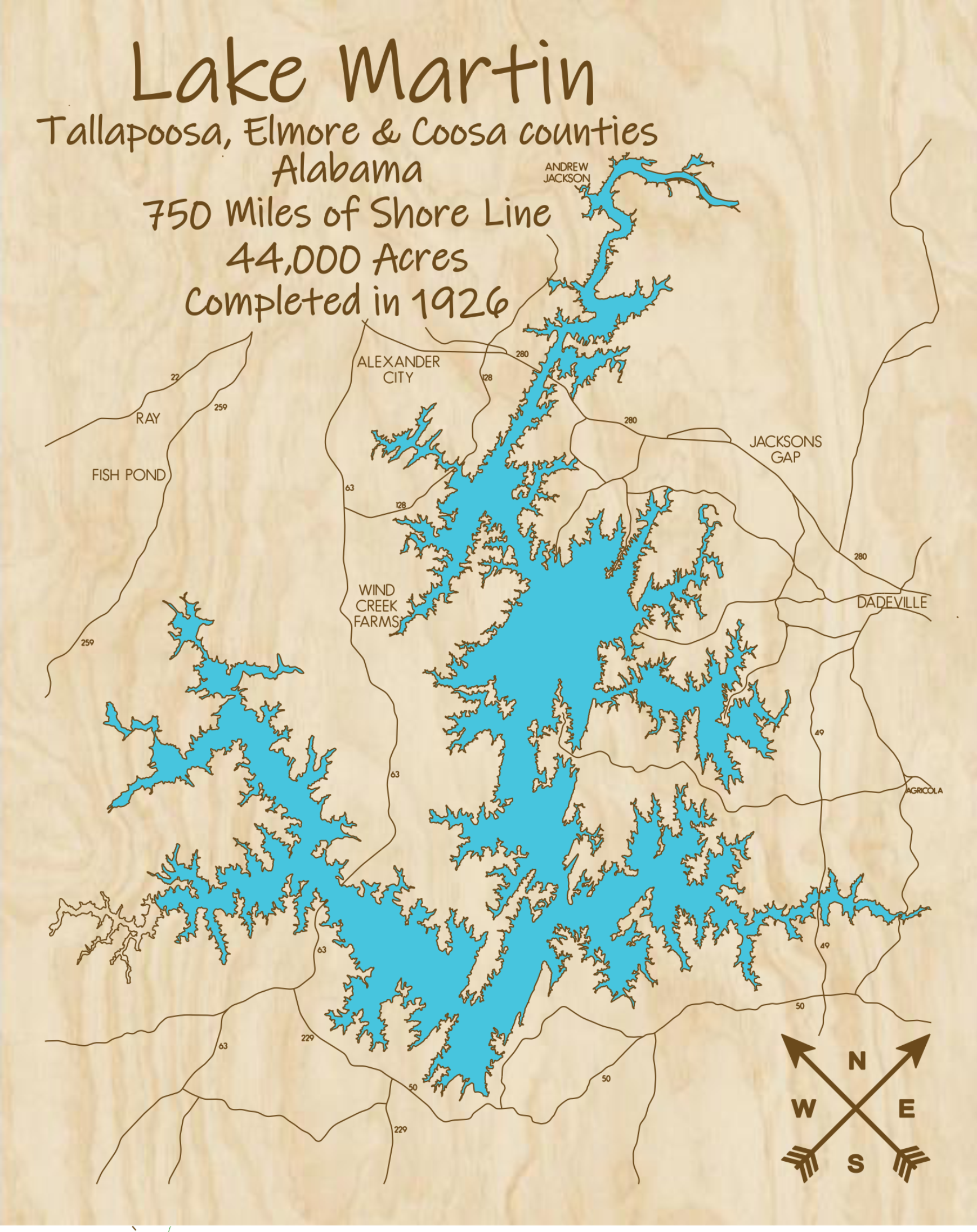 Lake Martin Multi-layered Wood Lake Map