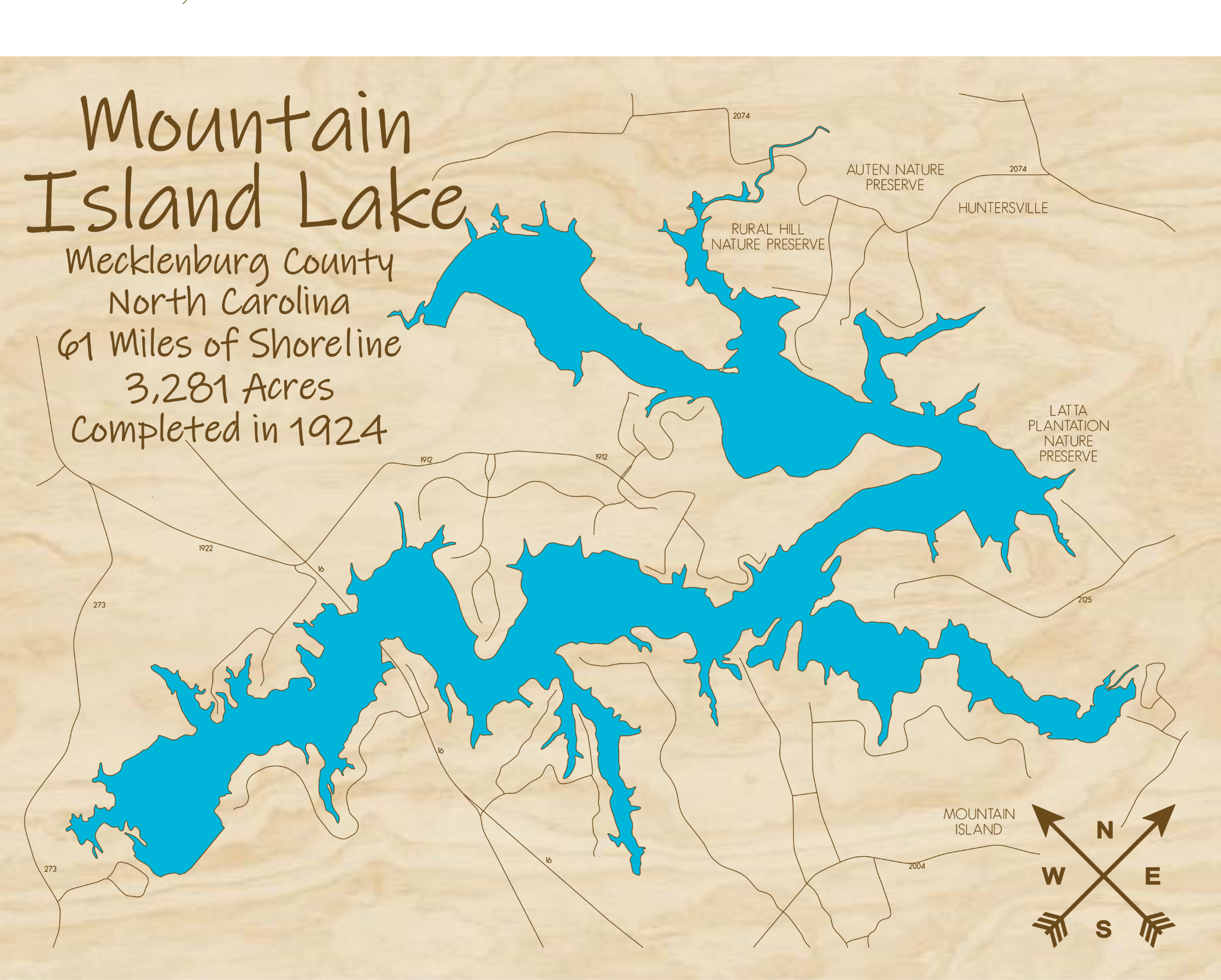Mountain Island Lake Multi-layered Wood Lake Map