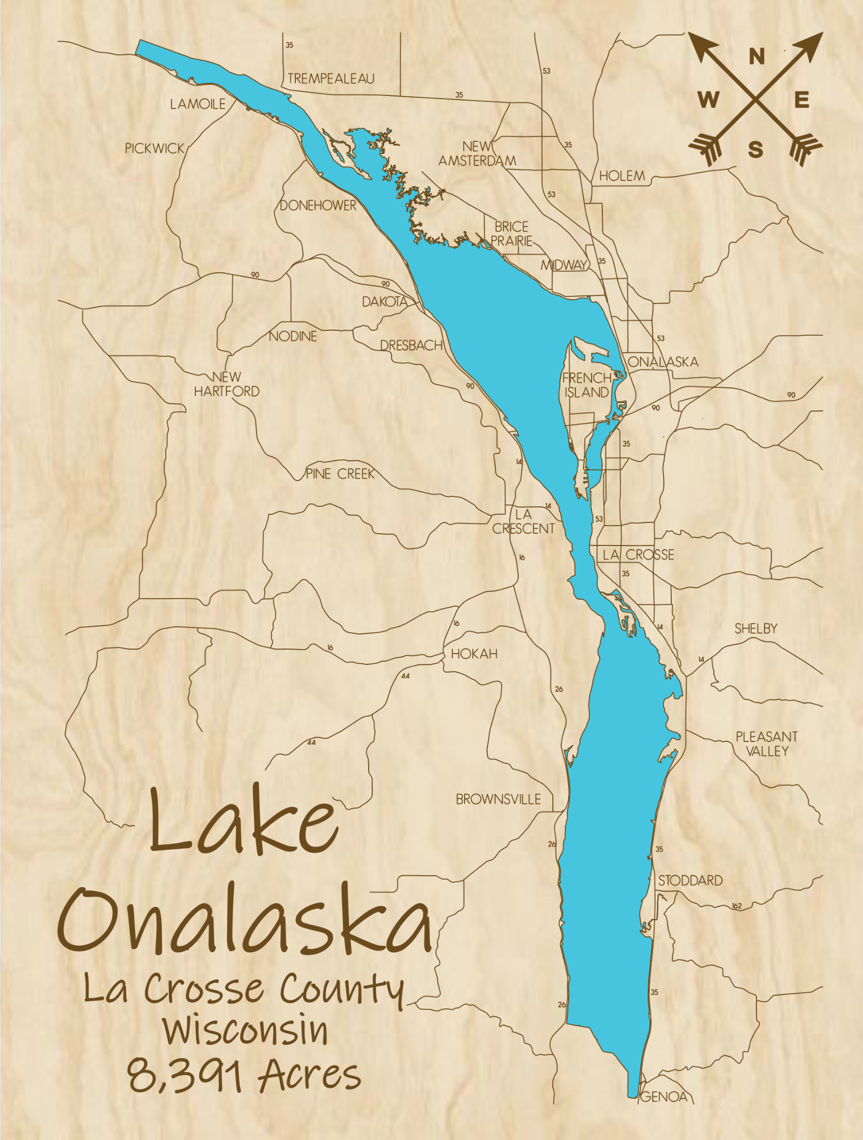 Lake Onalaska Multi-Layered Wood Lake Map