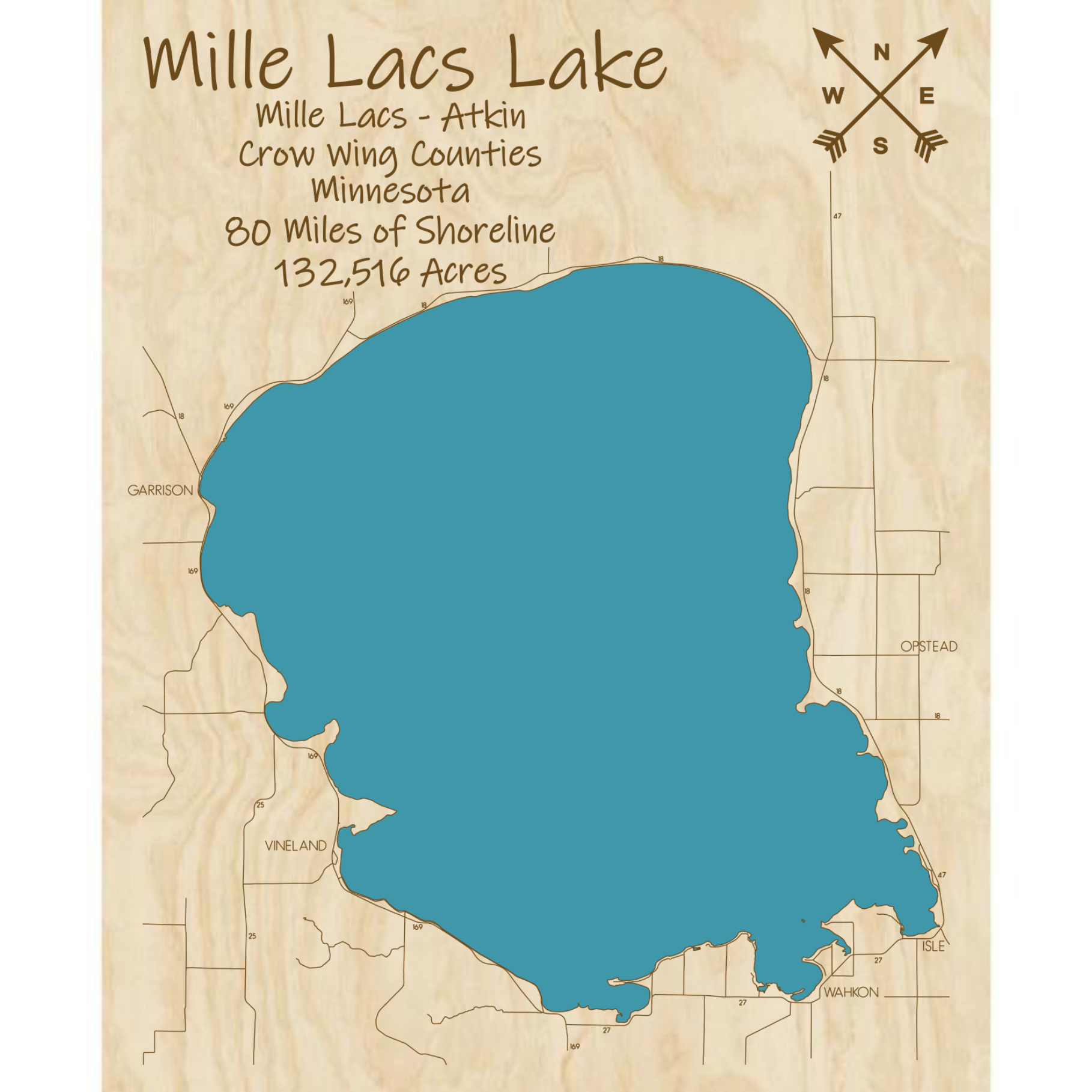Mille Lacs Lake Multi-layered Wood Lake