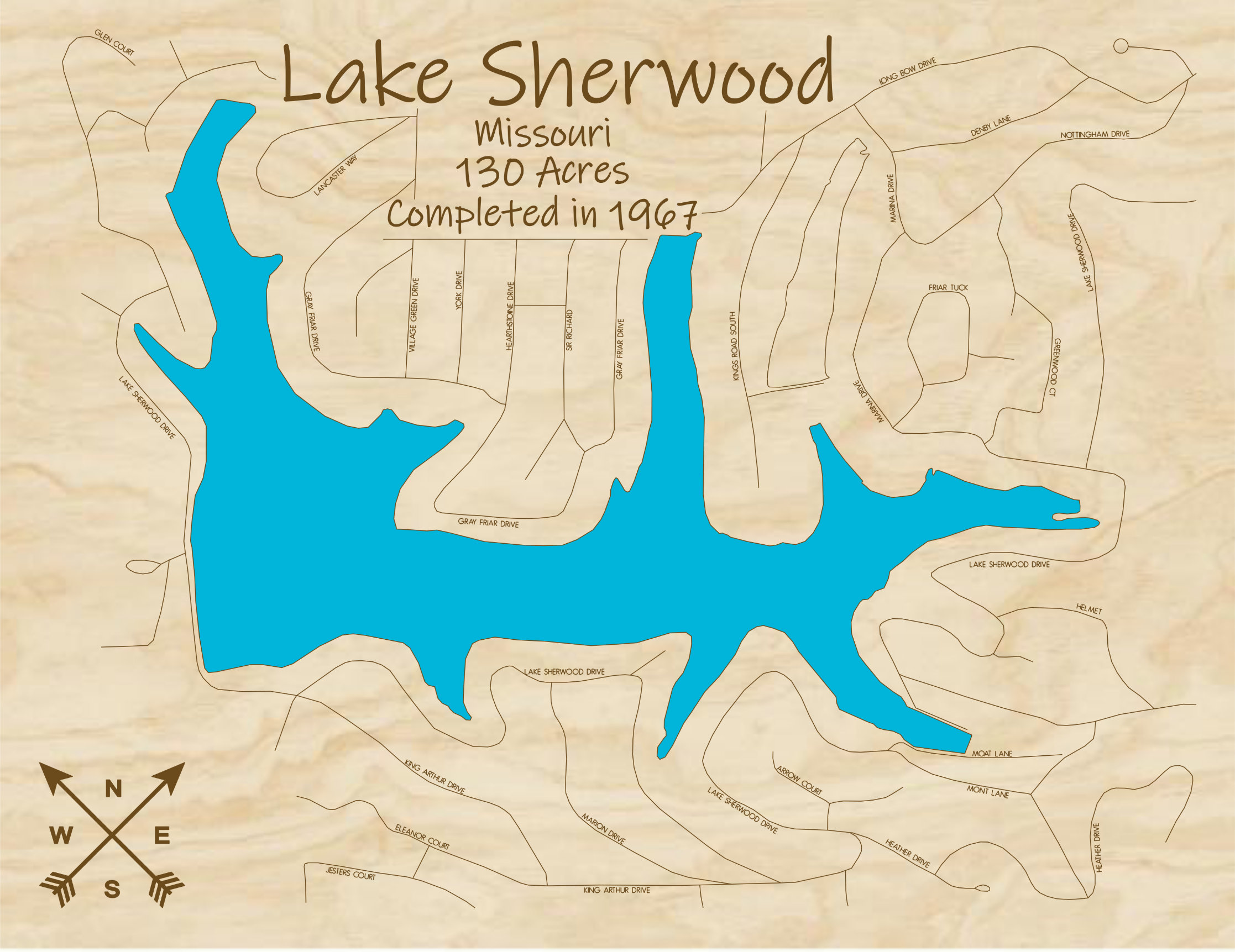 Lake Sherwood Muti-layered Wood Lake Mapo