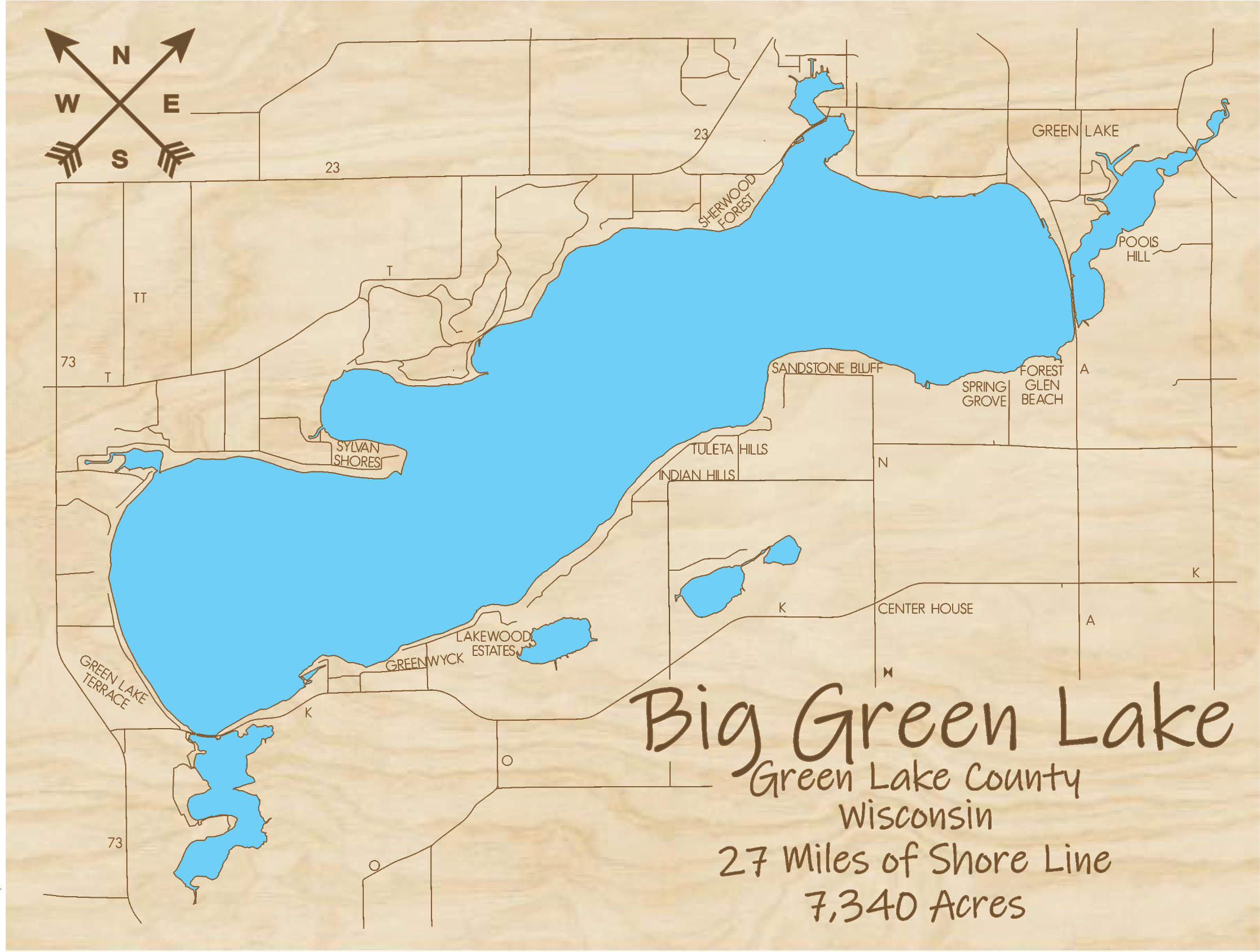 Big Green Lake Multi-layered Wood Lake Map