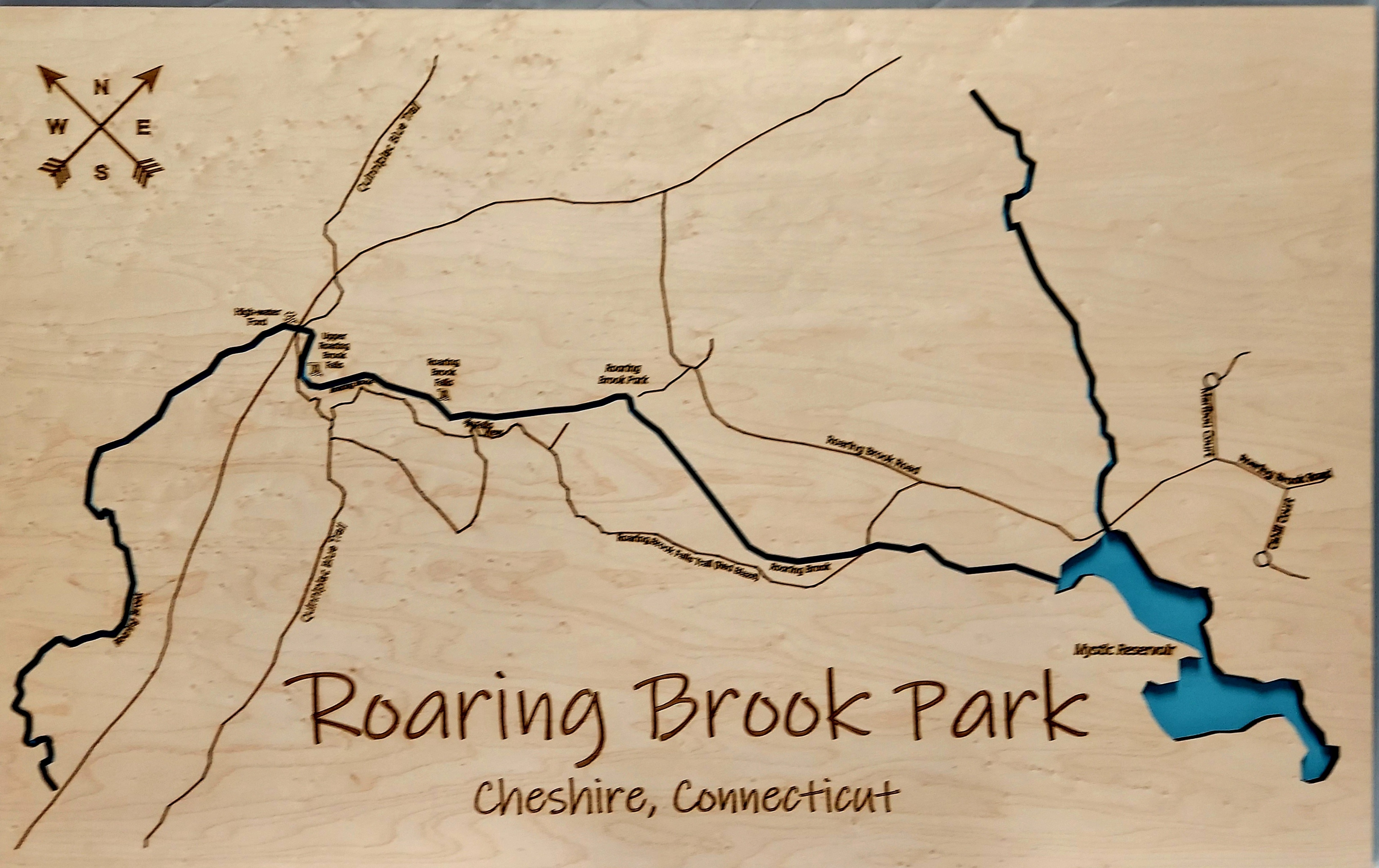 Roaring Brook Park Multi-layered Wood Map