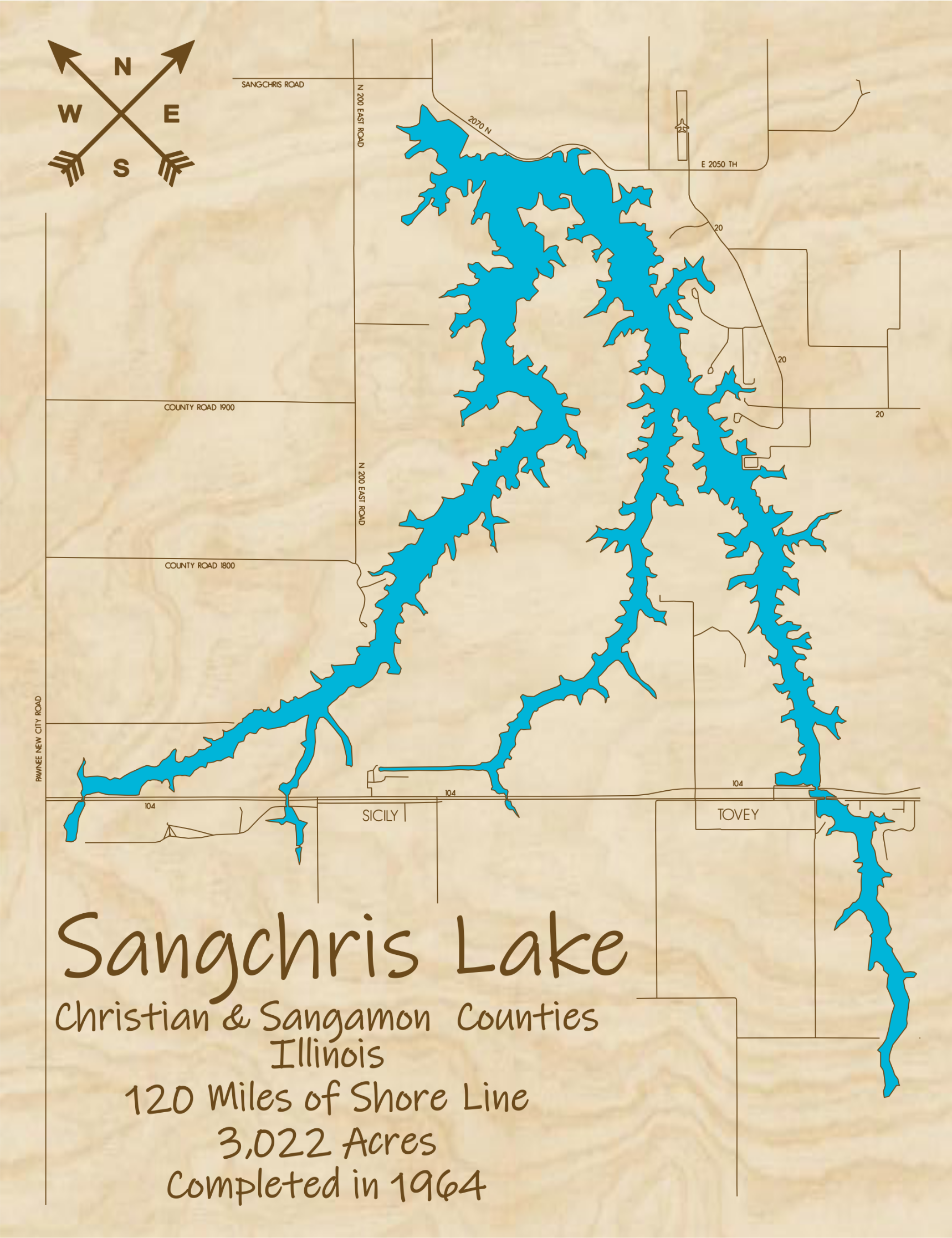 Lake Sangchris Multi-layered Wood Lake Map