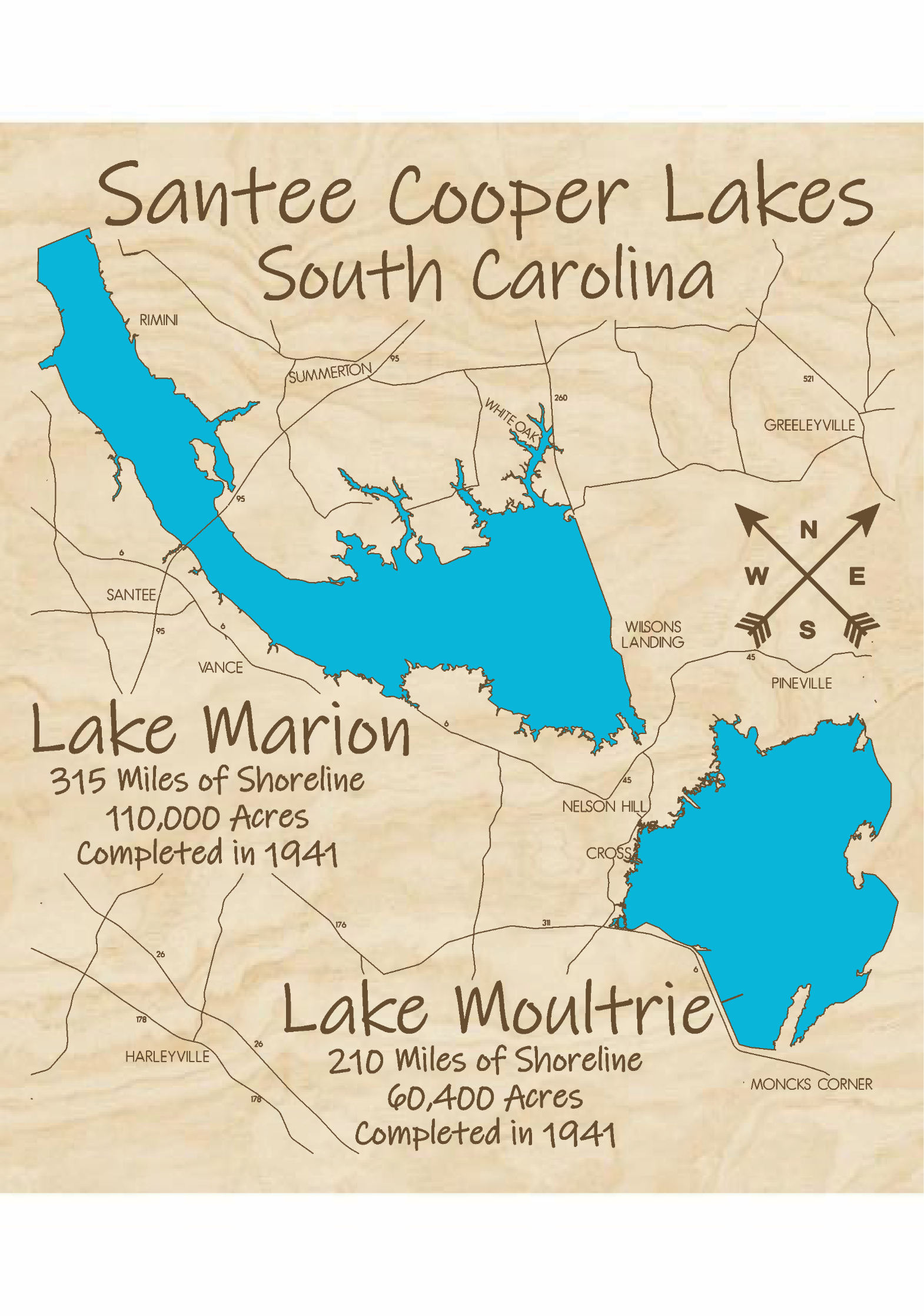 Santee Cooper Lakes (Marion & Multrie) Multi-layered Wood Lake Map