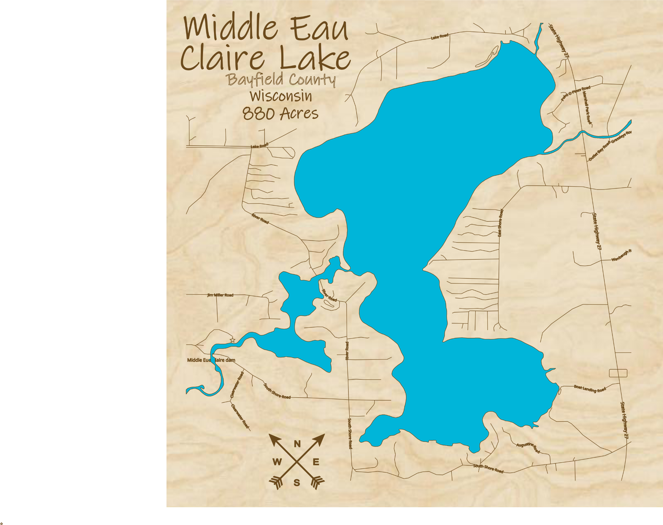Middle Eau Claire Lake Multi-layered Wood Lake Map
