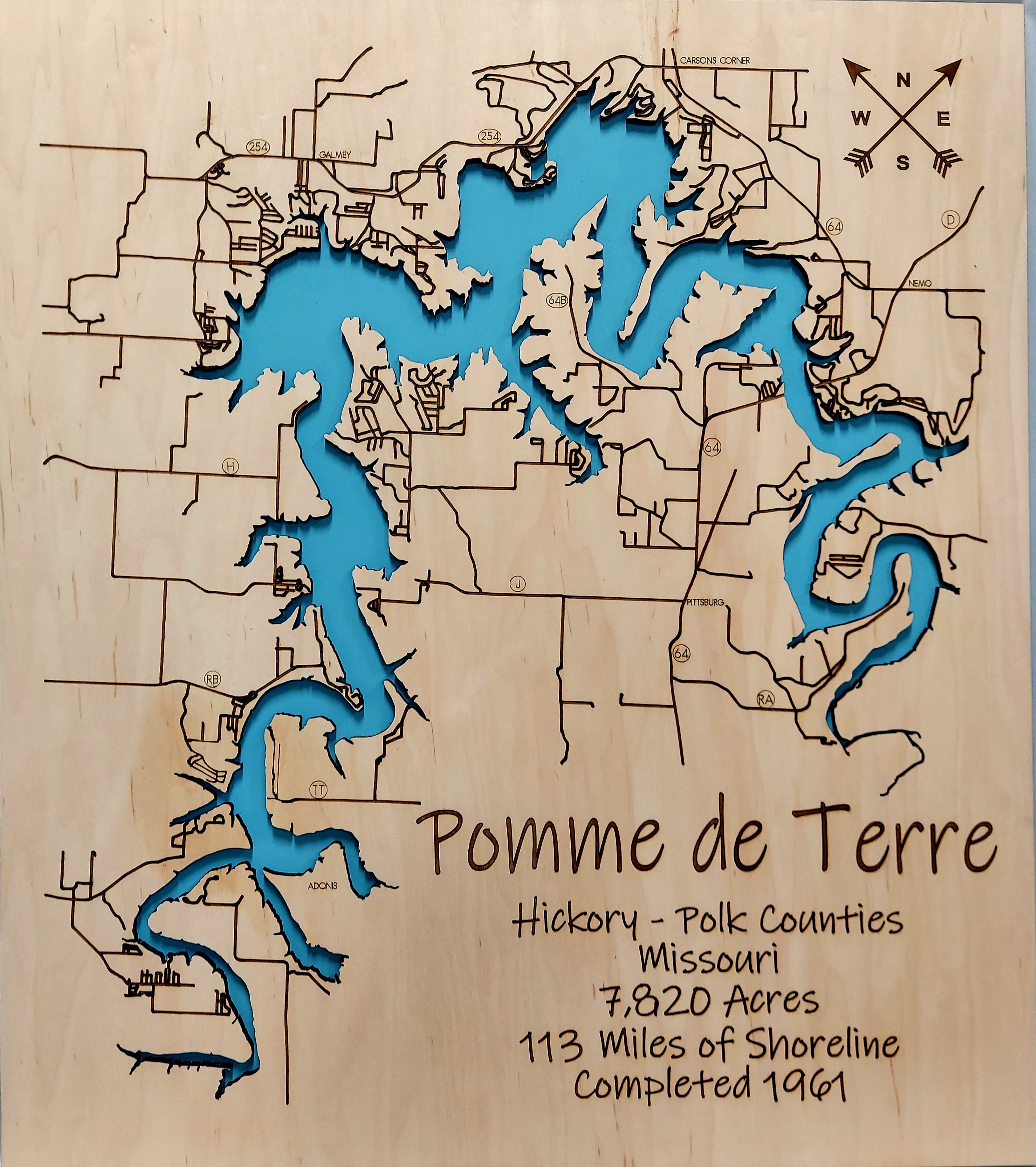 Pomme de Terre Lake Multi-layered Wood Map