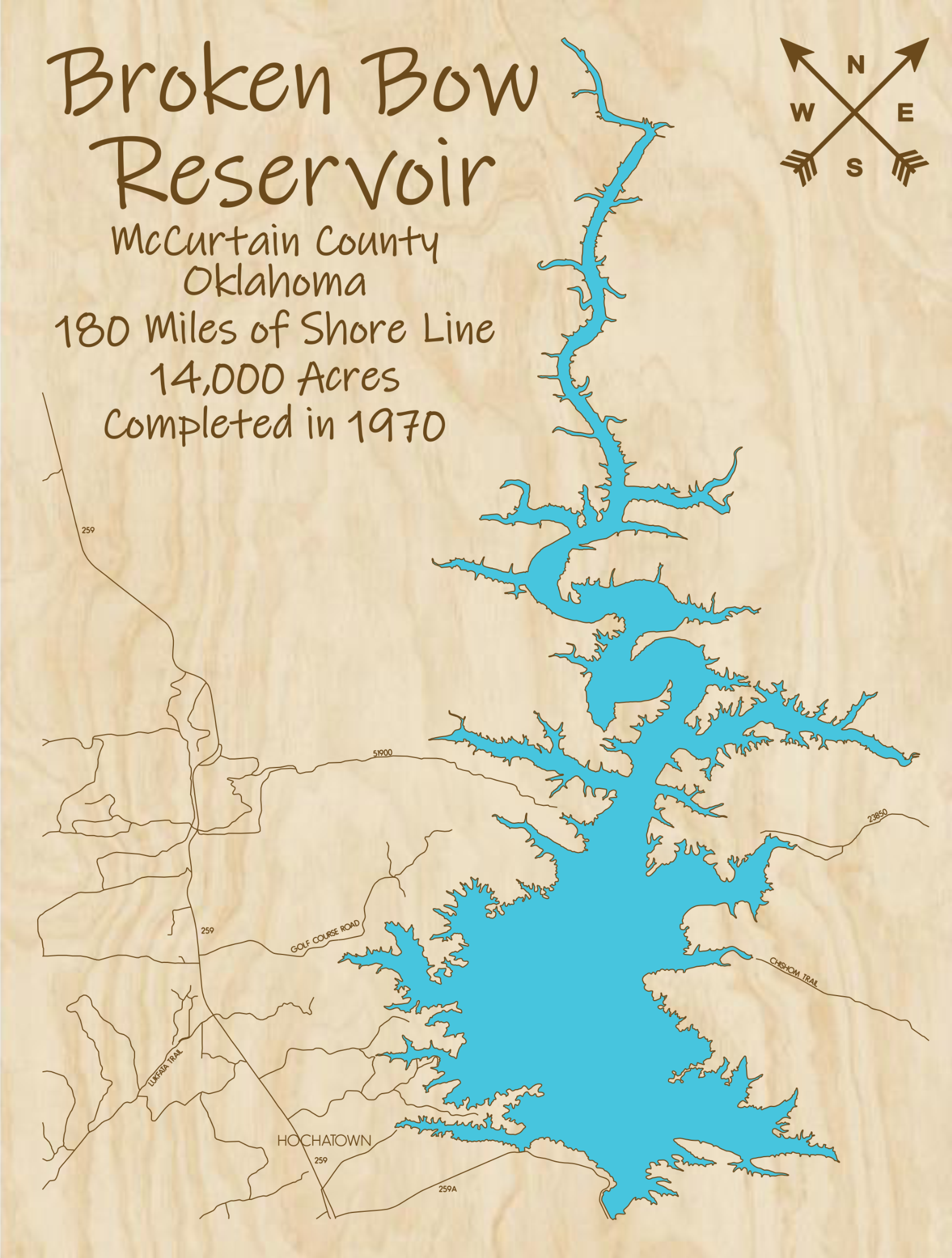 Broken Bow Reservoir Multi-layered Wood Lake Map