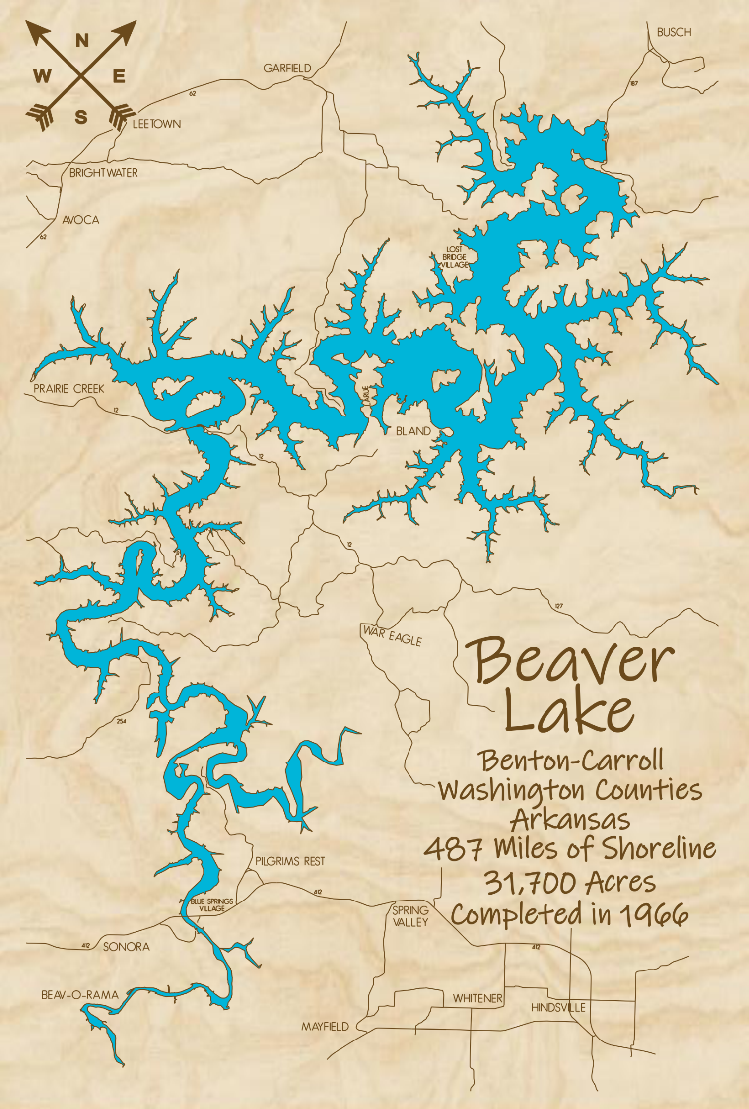 Beaver Lake Multi-layered Wood Lake Map
