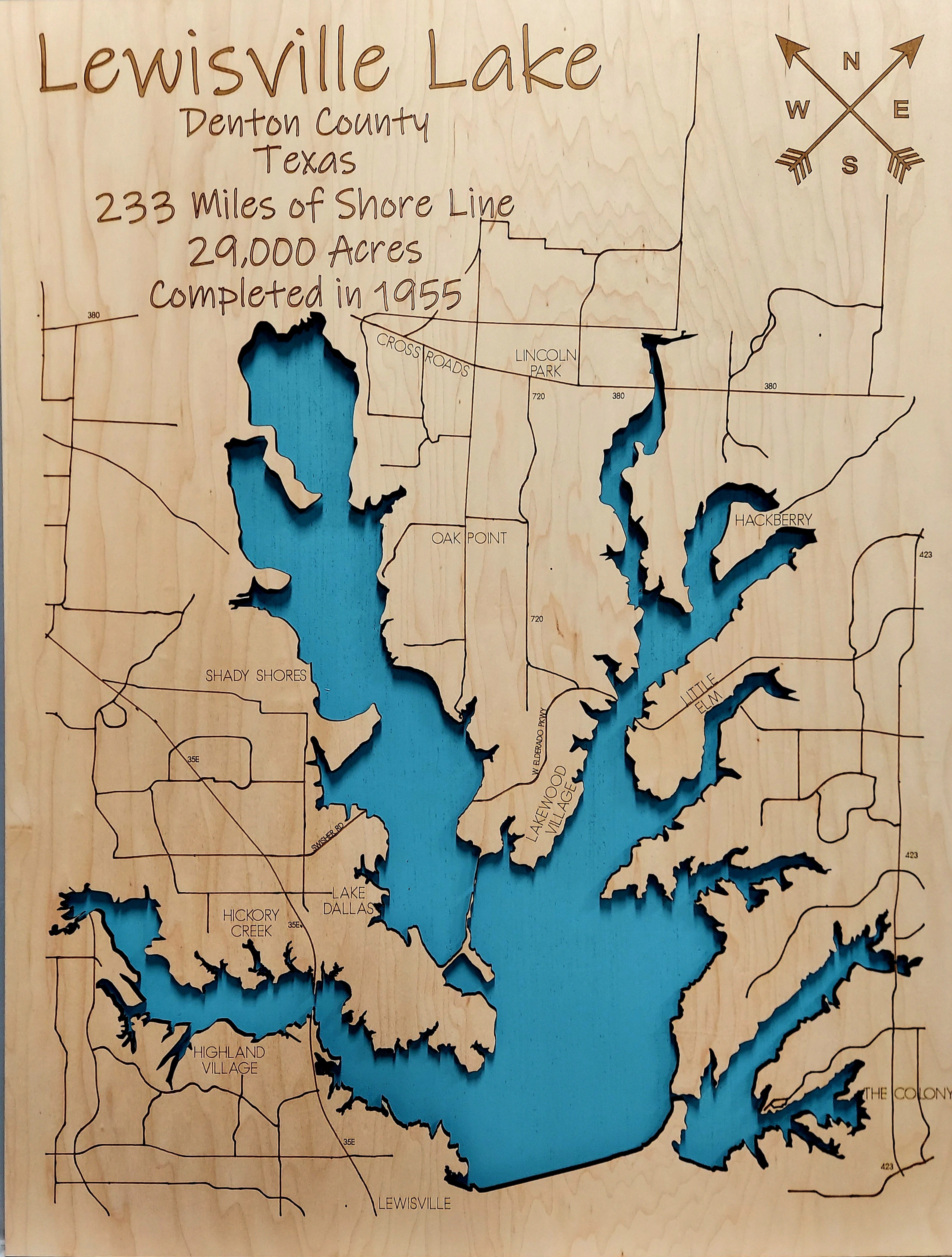 Lewisville Lake Multi-layered Wood Lake Map