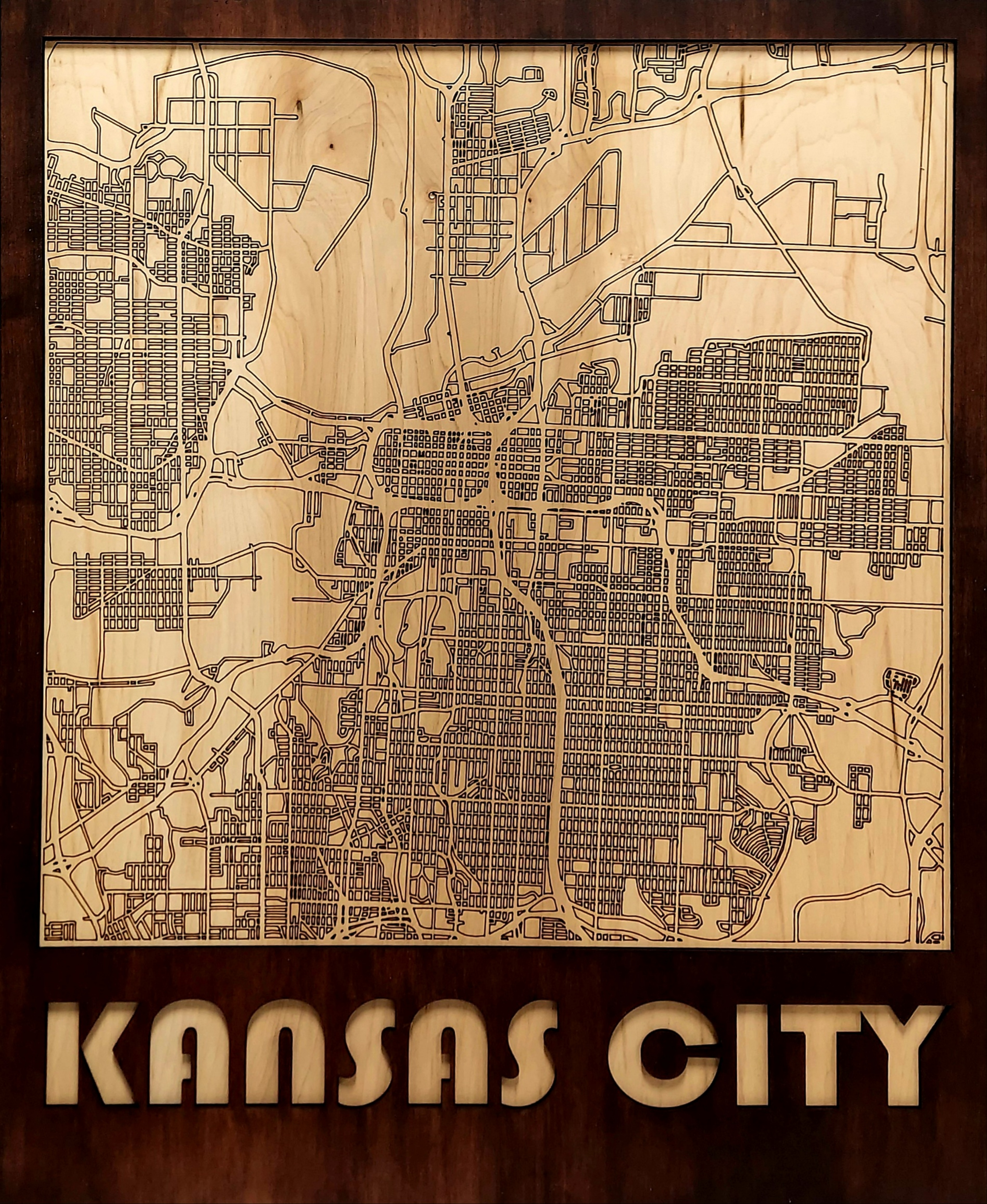 Kansas City Multi Layered Wood Map