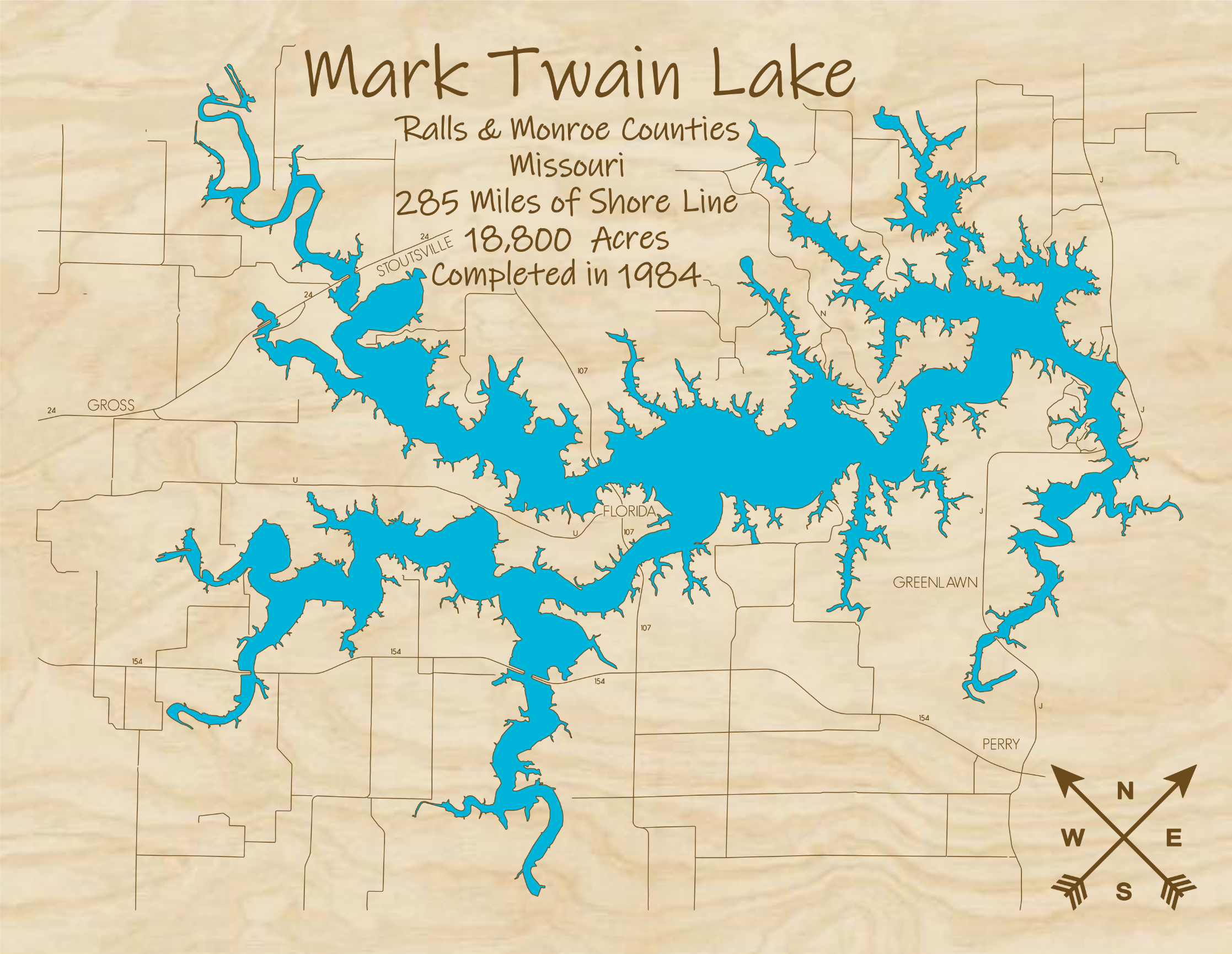 Mark Twain Lake Multi-layered Wood Lake Map